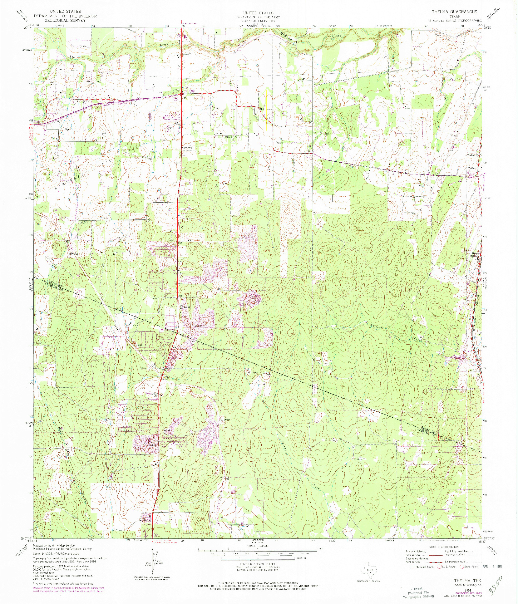 USGS 1:24000-SCALE QUADRANGLE FOR THELMA, TX 1958