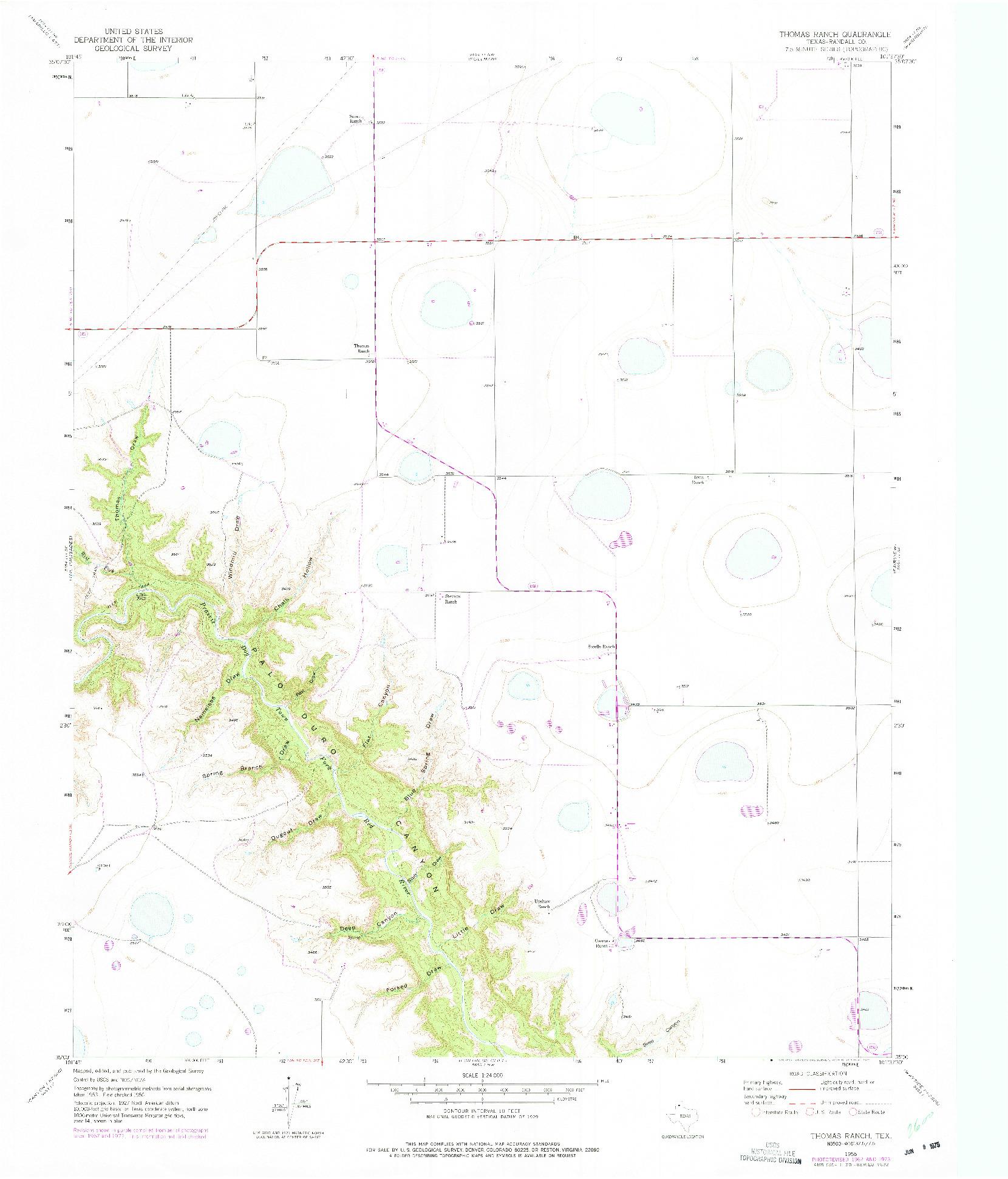 USGS 1:24000-SCALE QUADRANGLE FOR THOMAS RANCH, TX 1956