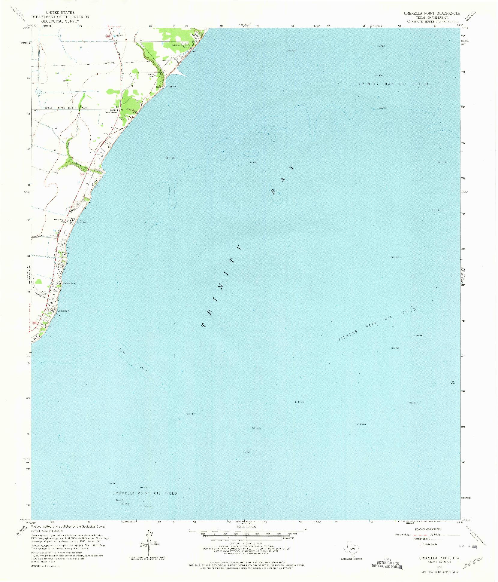 USGS 1:24000-SCALE QUADRANGLE FOR UMBRELLA POINT, TX 1961