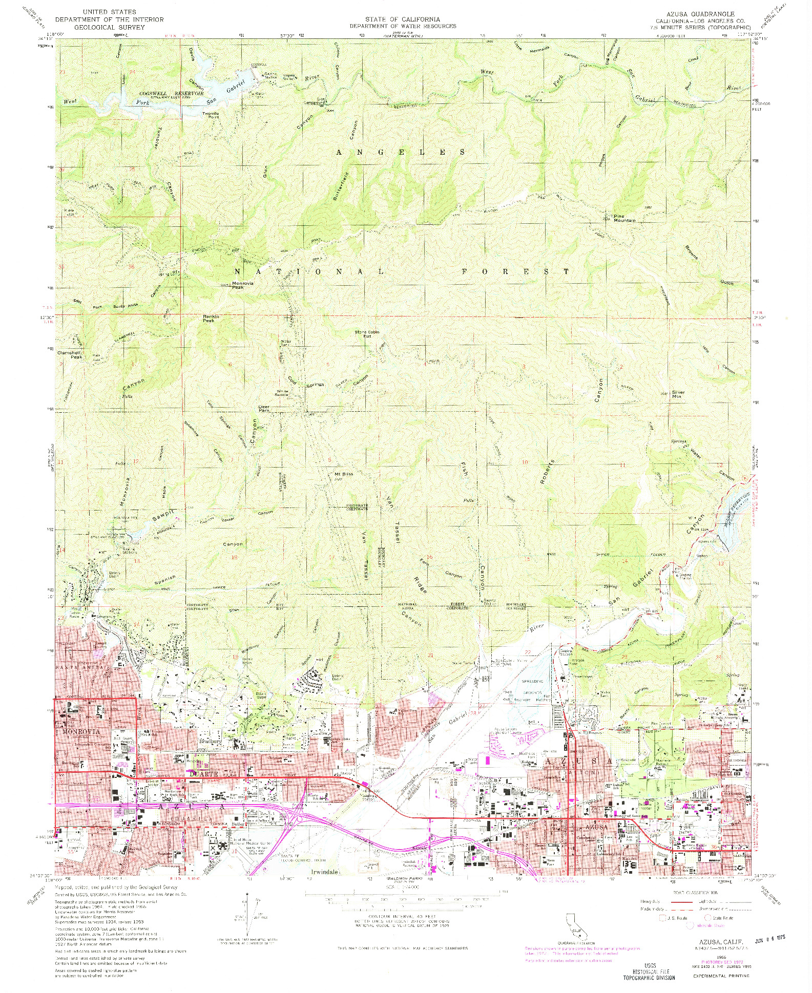 USGS 1:24000-SCALE QUADRANGLE FOR AZUSA, CA 1966