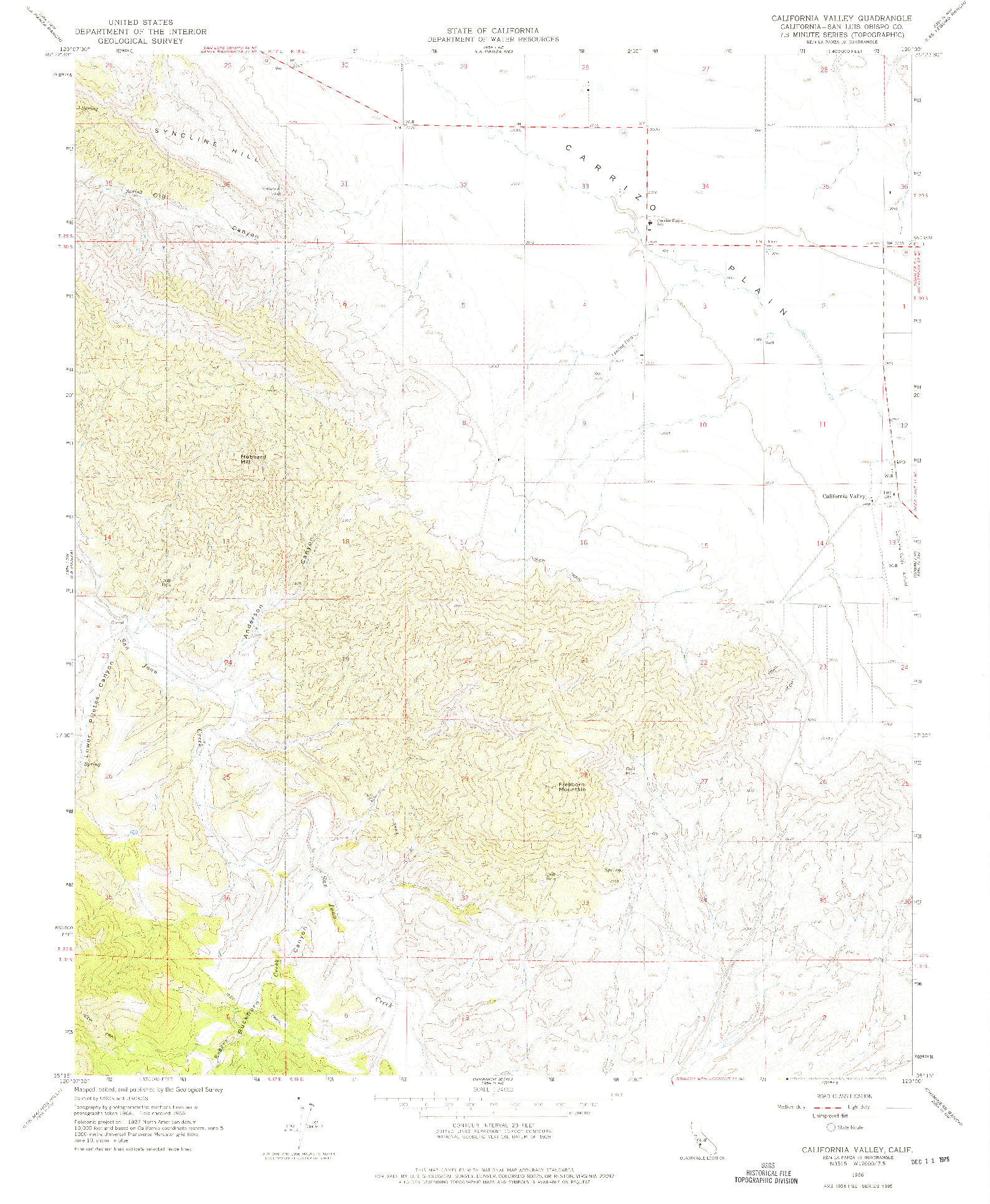 USGS 1:24000-SCALE QUADRANGLE FOR CALIFORNIA VALLEY, CA 1966