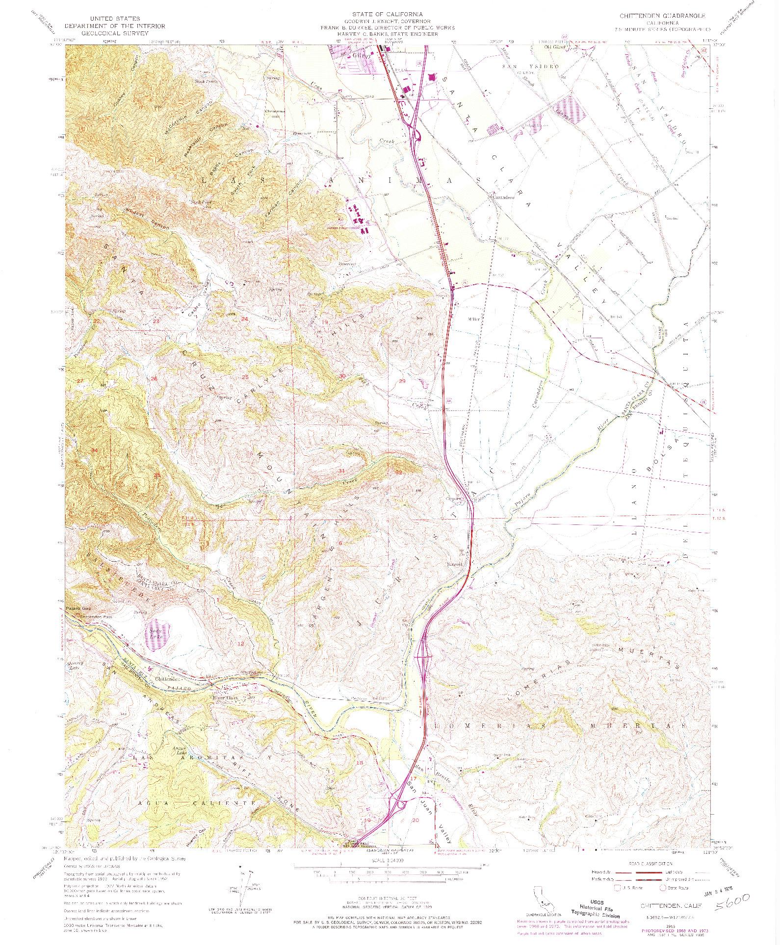 USGS 1:24000-SCALE QUADRANGLE FOR CHITTENDEN, CA 1955