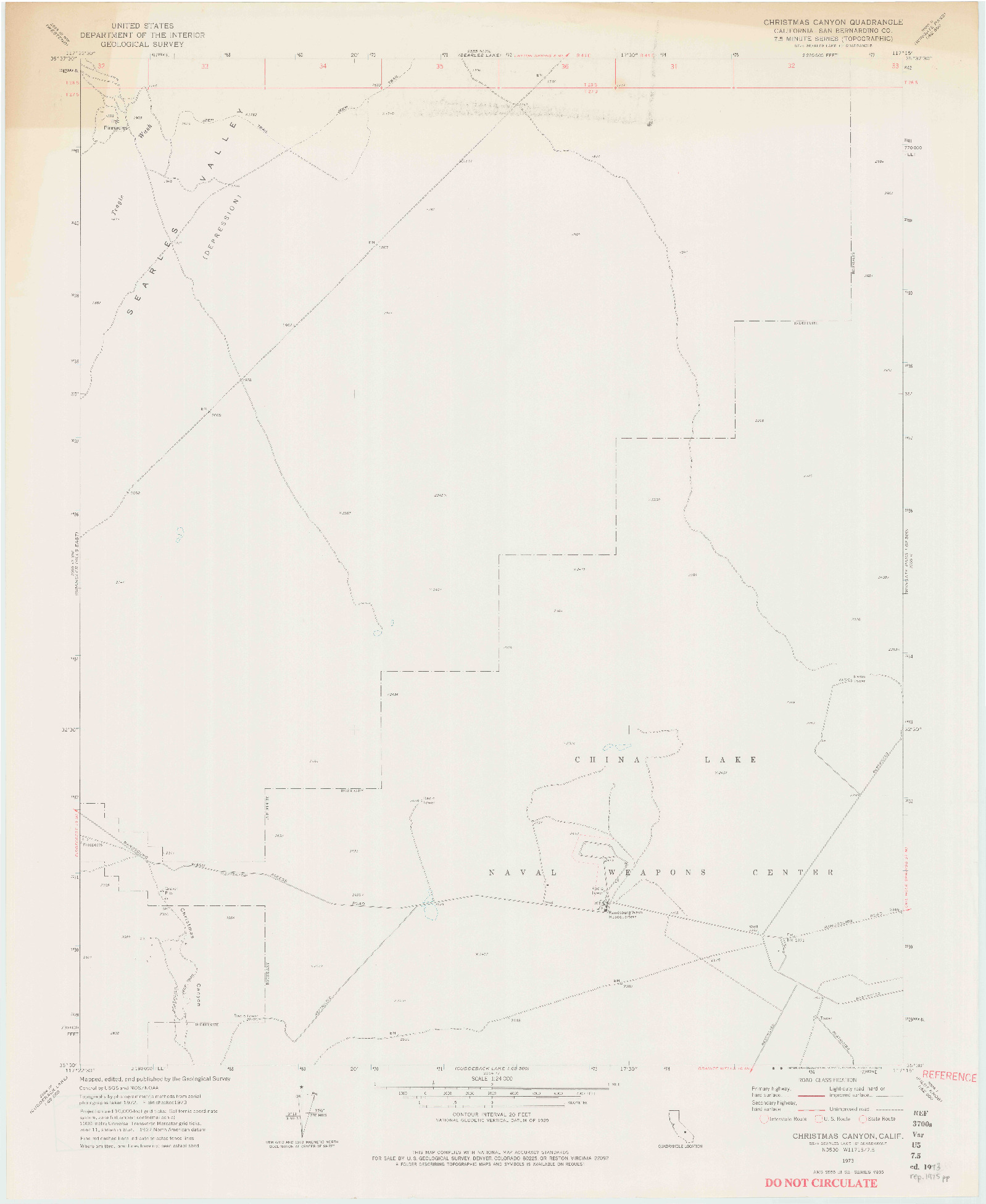 USGS 1:24000-SCALE QUADRANGLE FOR CHRISTMAS CANYON, CA 1973