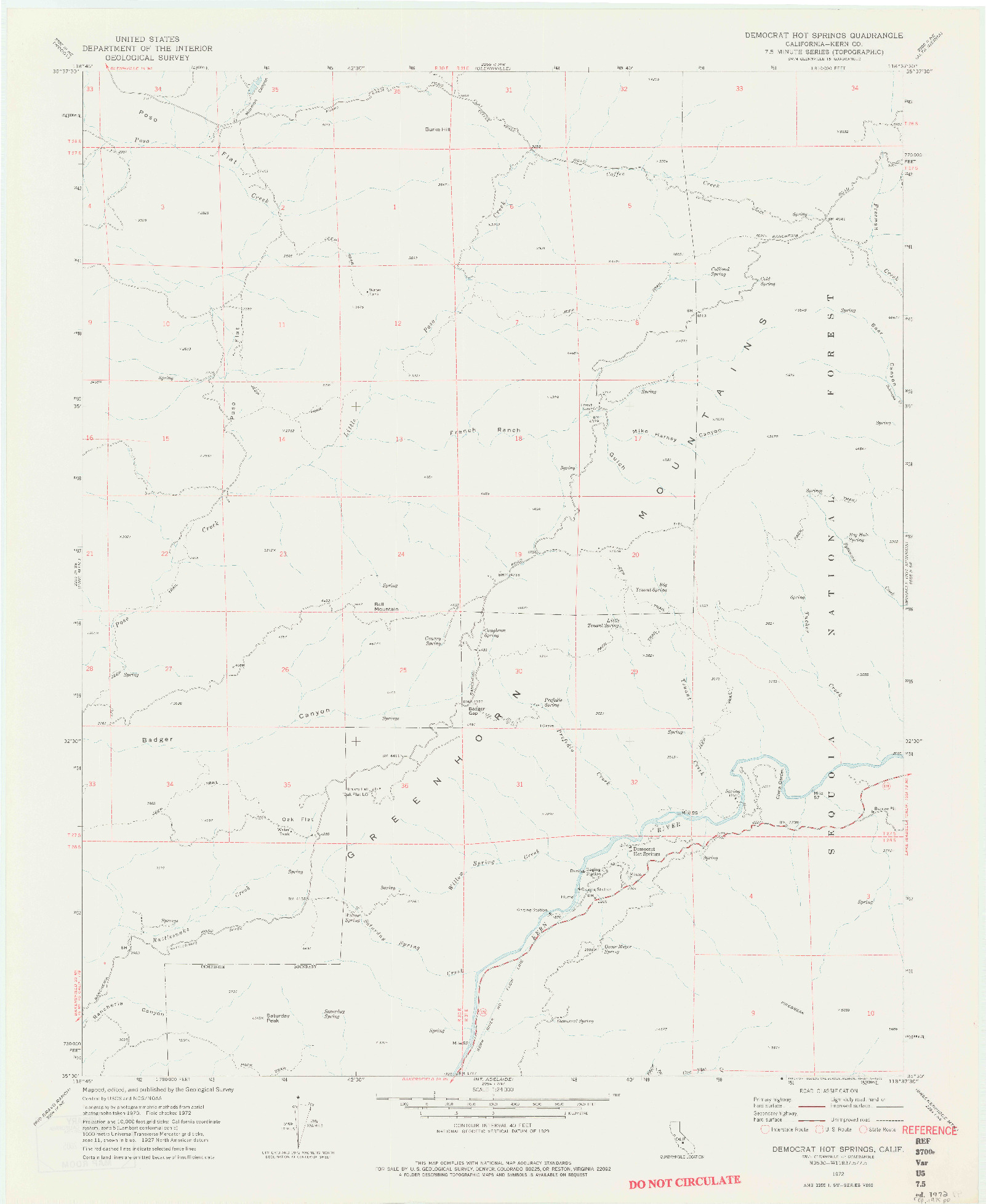 USGS 1:24000-SCALE QUADRANGLE FOR DEMOCRAT HOT SPRINGS, CA 1972