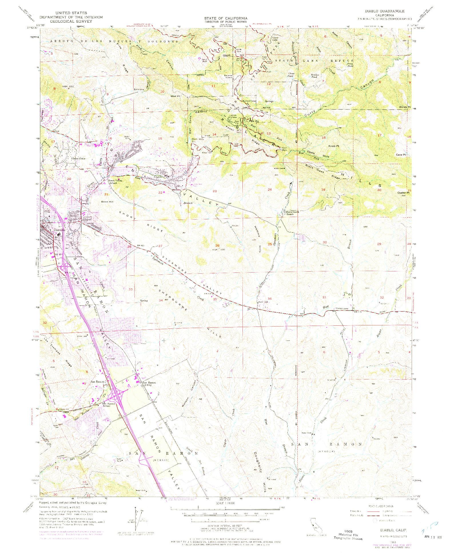 USGS 1:24000-SCALE QUADRANGLE FOR DIABLO, CA 1953