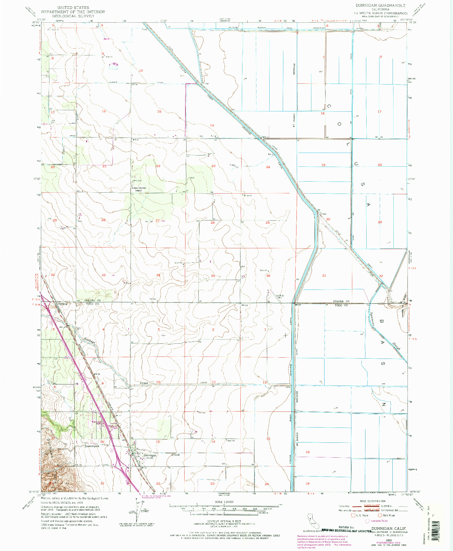 USGS 1:24000-SCALE QUADRANGLE FOR DUNNIGAN, CA 1953