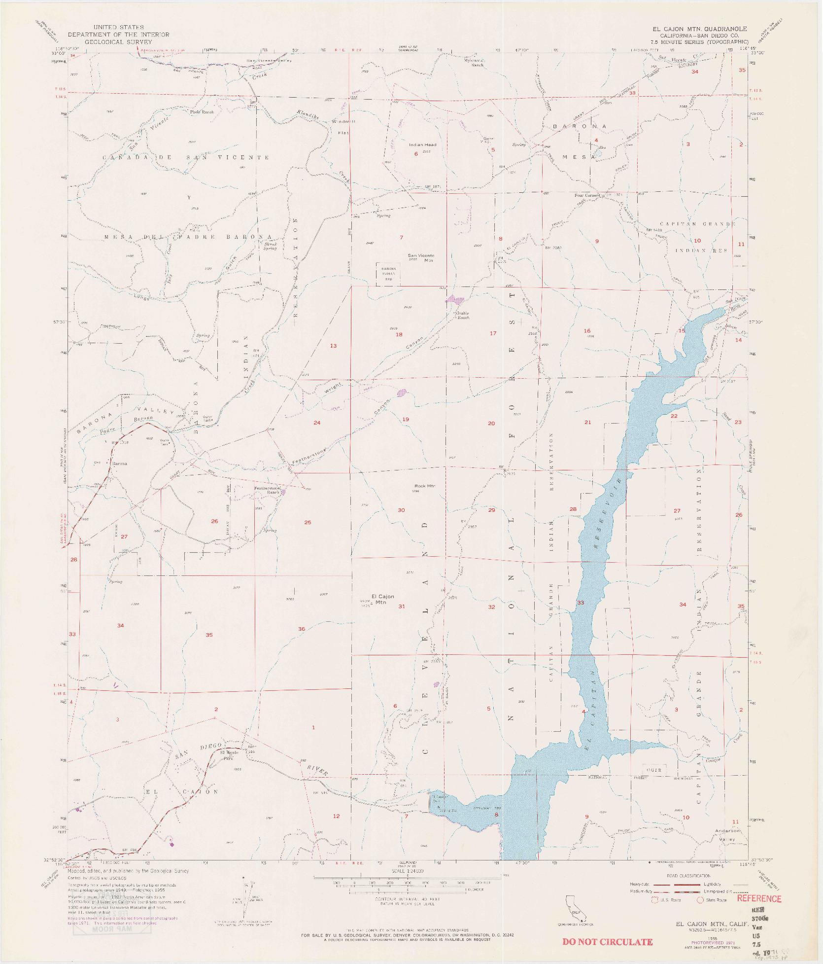 USGS 1:24000-SCALE QUADRANGLE FOR EL CAJON MOUNTAIN, CA 1955