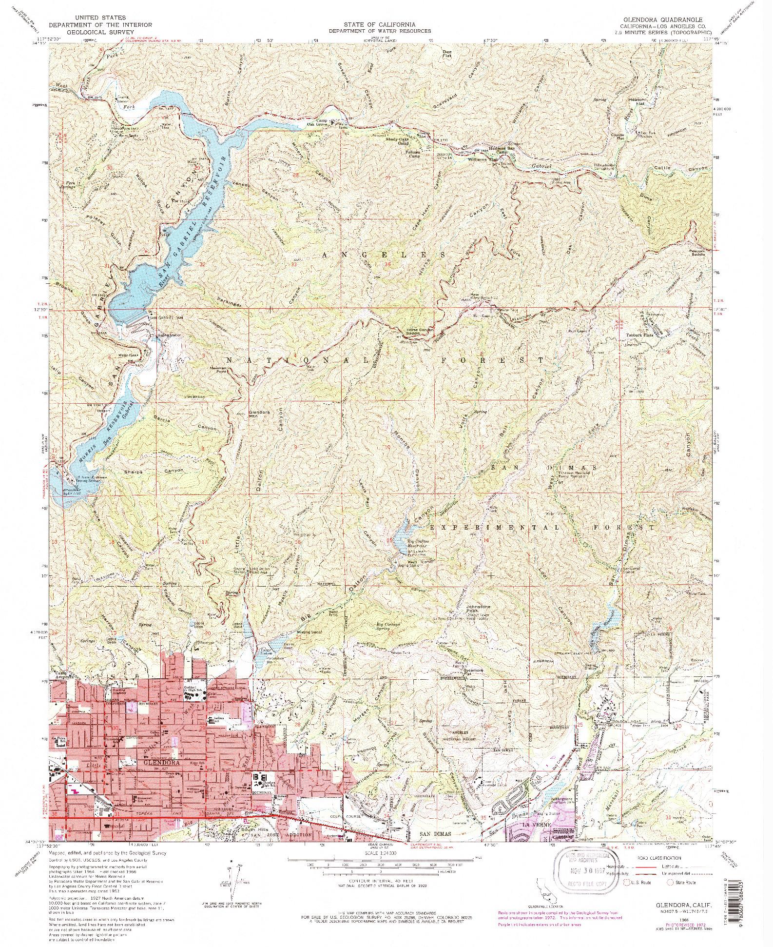 USGS 1:24000-SCALE QUADRANGLE FOR GLENDORA, CA 1966
