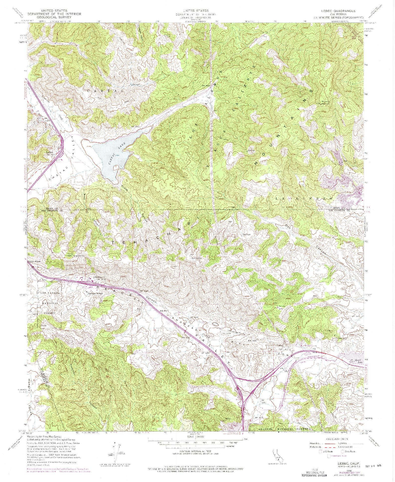 USGS 1:24000-SCALE QUADRANGLE FOR LEBEC, CA 1958