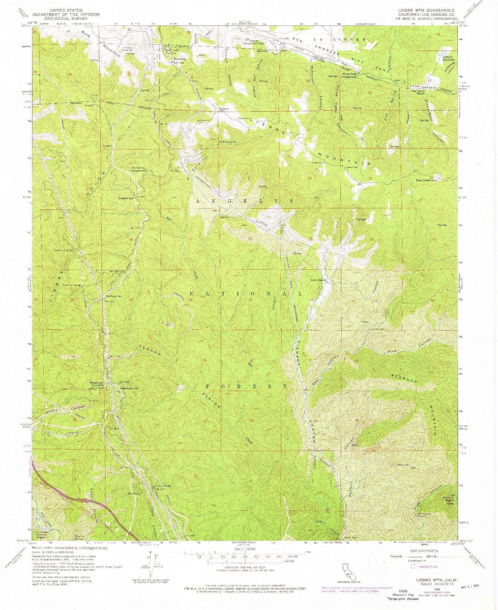 USGS 1:24000-SCALE QUADRANGLE FOR LIEBRE MOUNTAIN, CA 1958