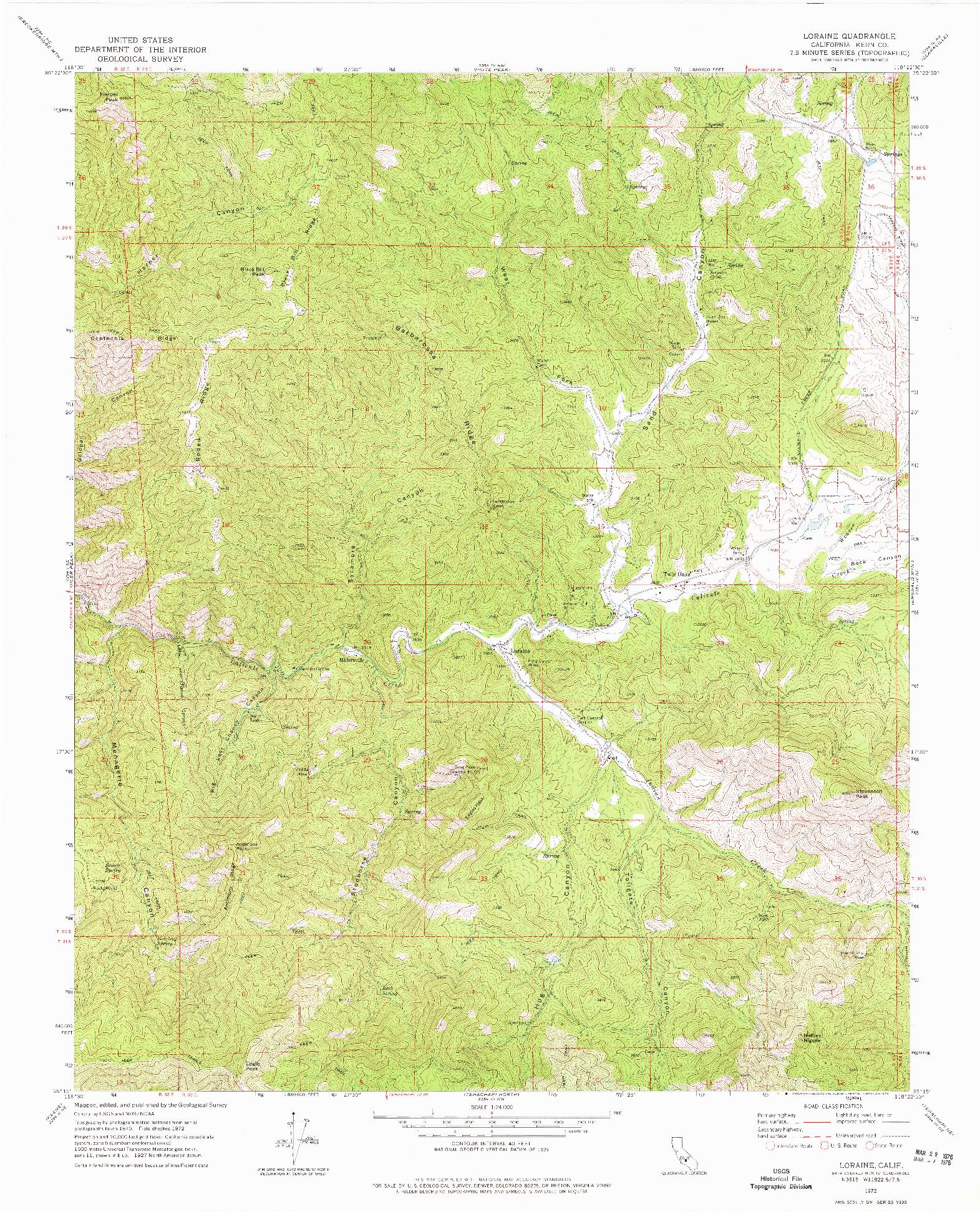 USGS 1:24000-SCALE QUADRANGLE FOR LORAINE, CA 1972
