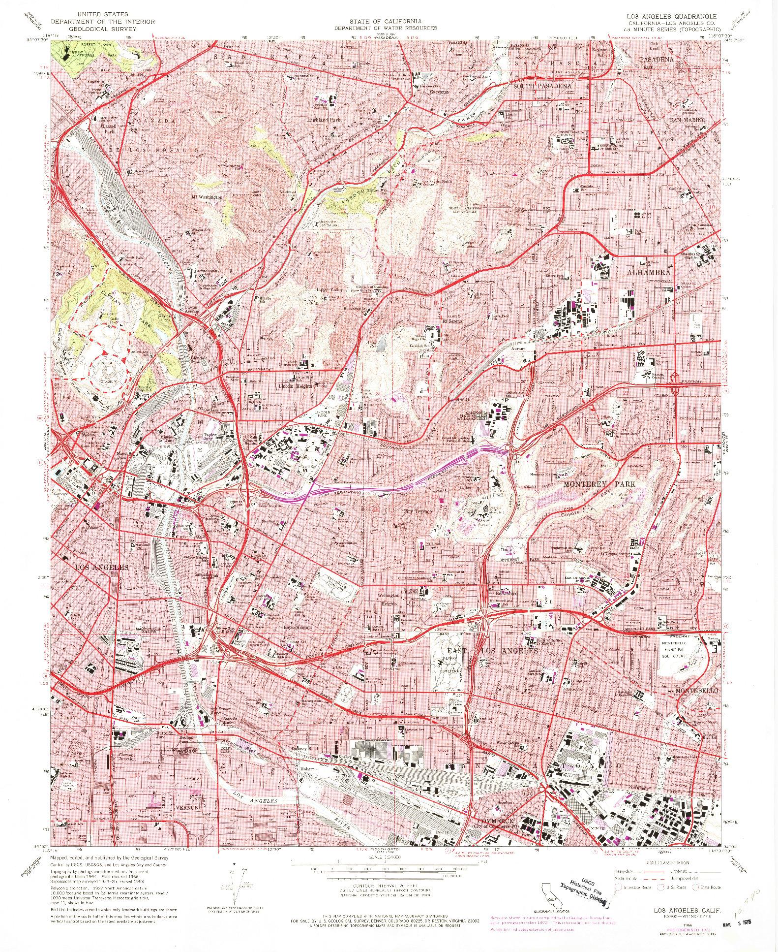 USGS 1:24000-SCALE QUADRANGLE FOR LOS ANGELES, CA 1966