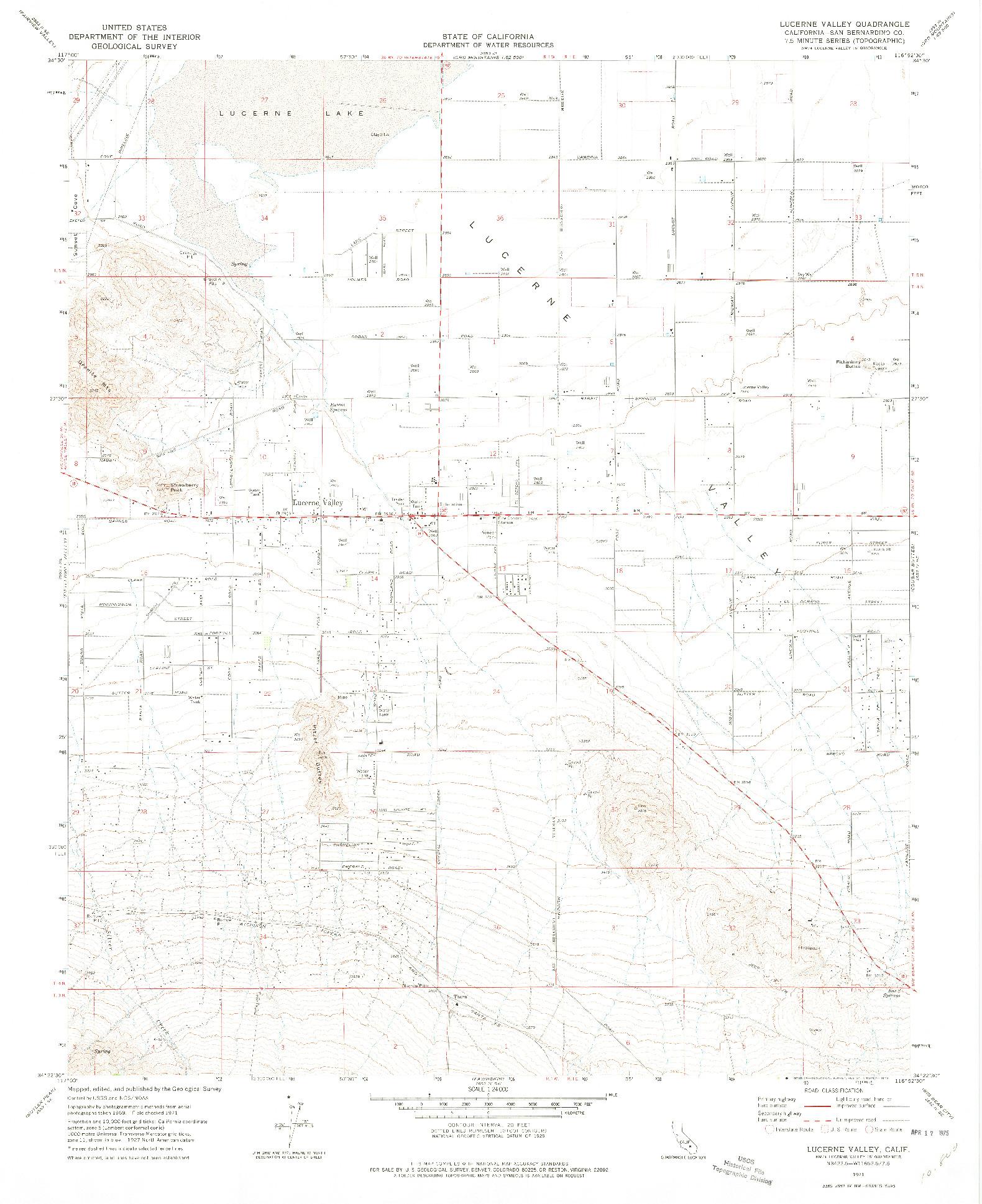 USGS 1:24000-SCALE QUADRANGLE FOR LUCERNE VALLEY, CA 1971
