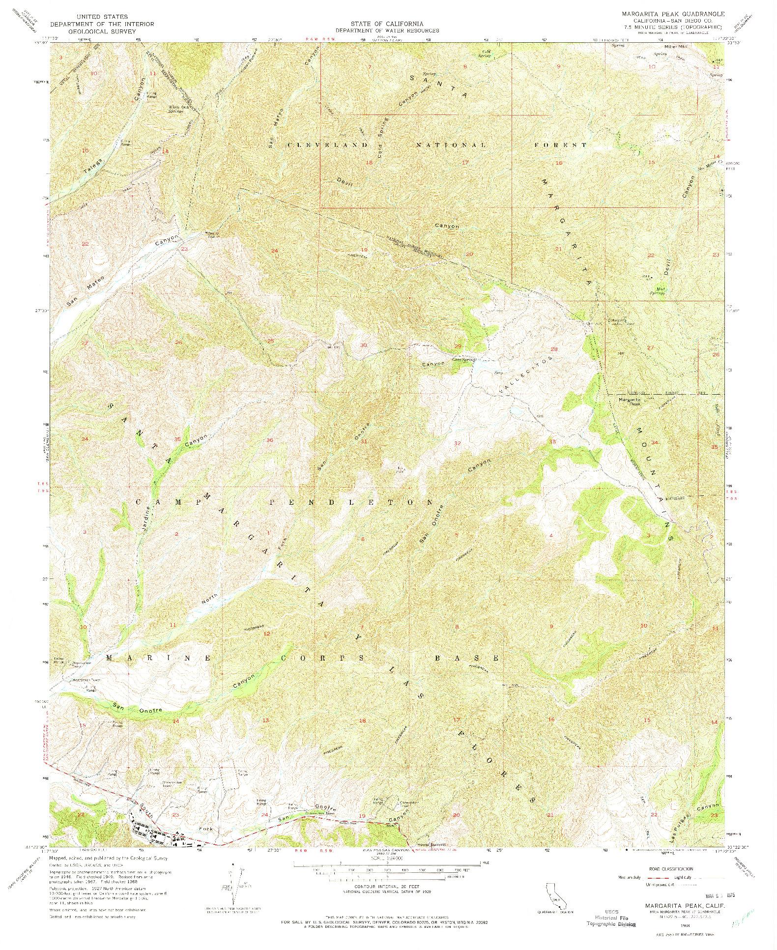 USGS 1:24000-SCALE QUADRANGLE FOR MARGARITA PEAK, CA 1968