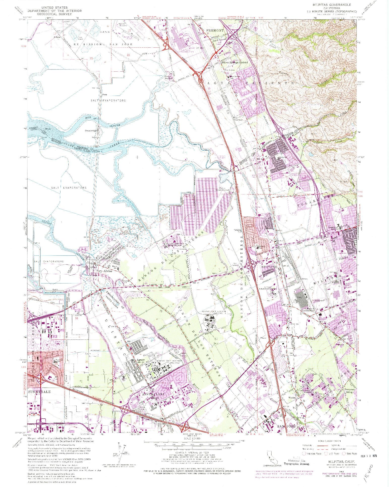 USGS 1:24000-SCALE QUADRANGLE FOR MILPITAS, CA 1961