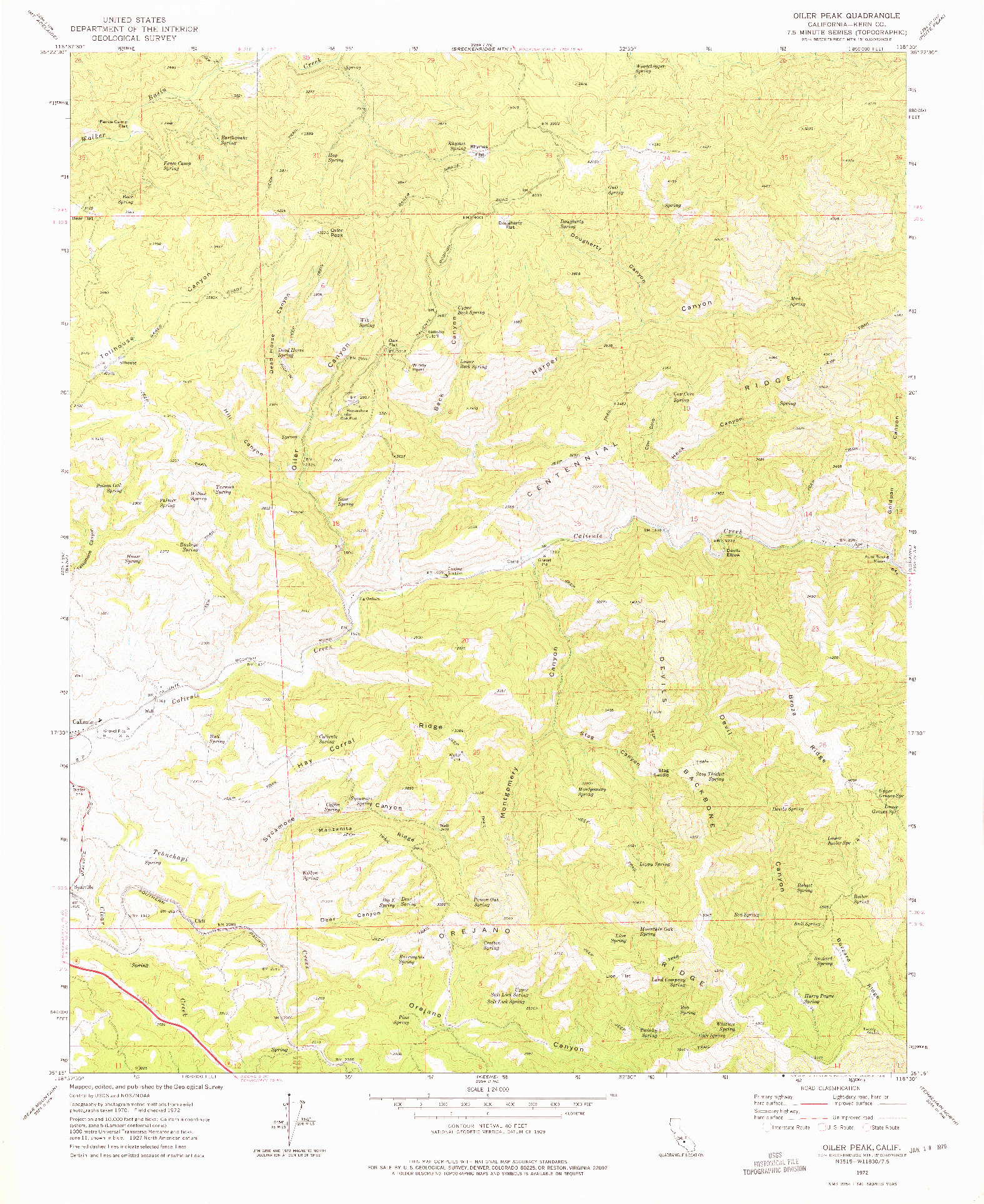 USGS 1:24000-SCALE QUADRANGLE FOR OILER PEAK, CA 1972