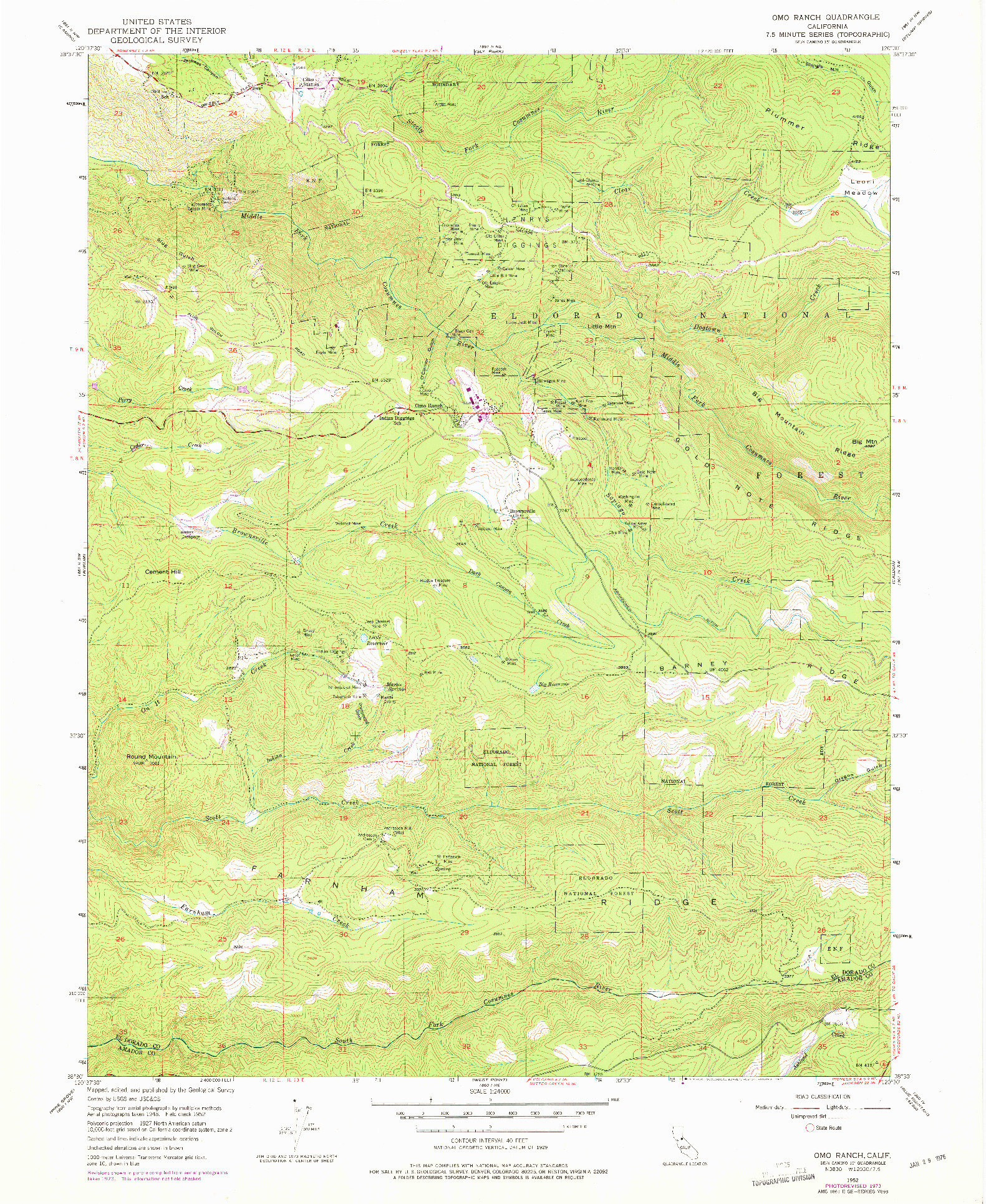 USGS 1:24000-SCALE QUADRANGLE FOR OMO RANCH, CA 1952