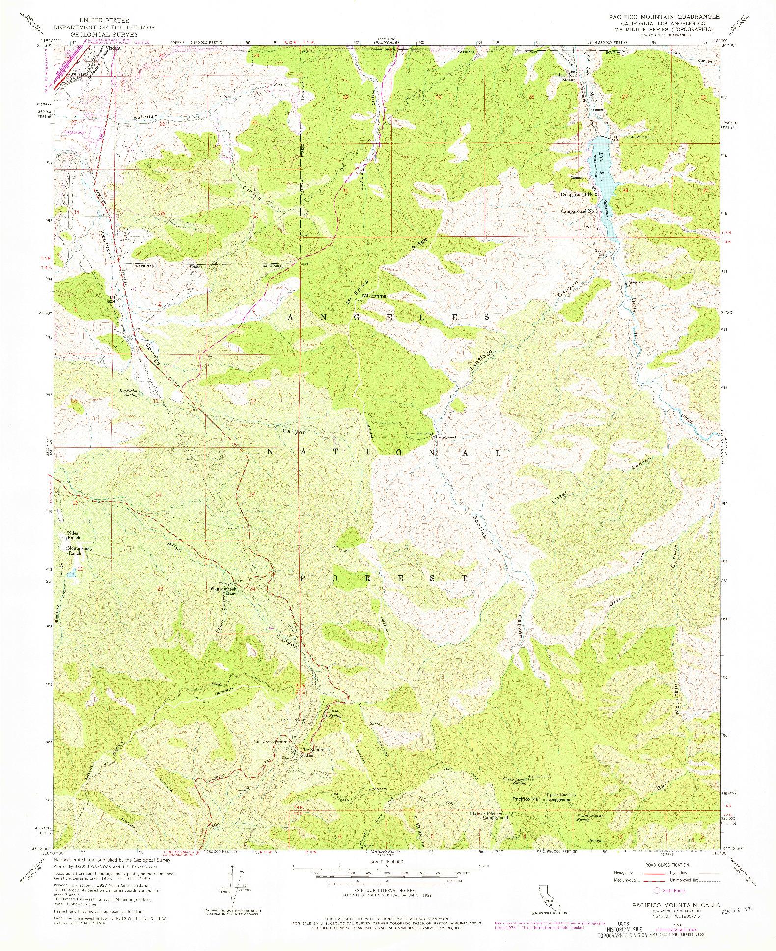 USGS 1:24000-SCALE QUADRANGLE FOR PACIFICO MOUNTAIN, CA 1959
