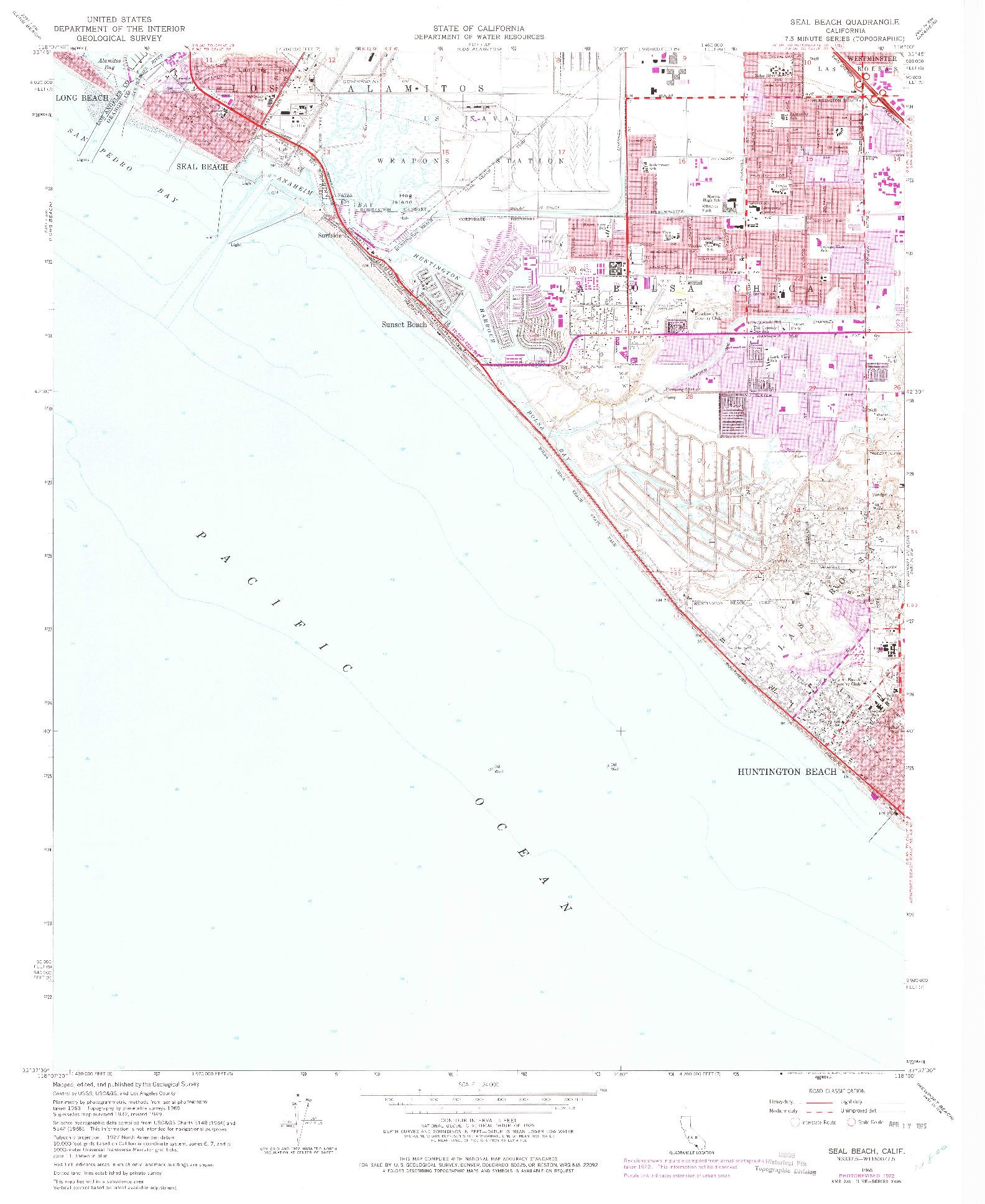 USGS 1:24000-SCALE QUADRANGLE FOR SEAL BEACH, CA 1965