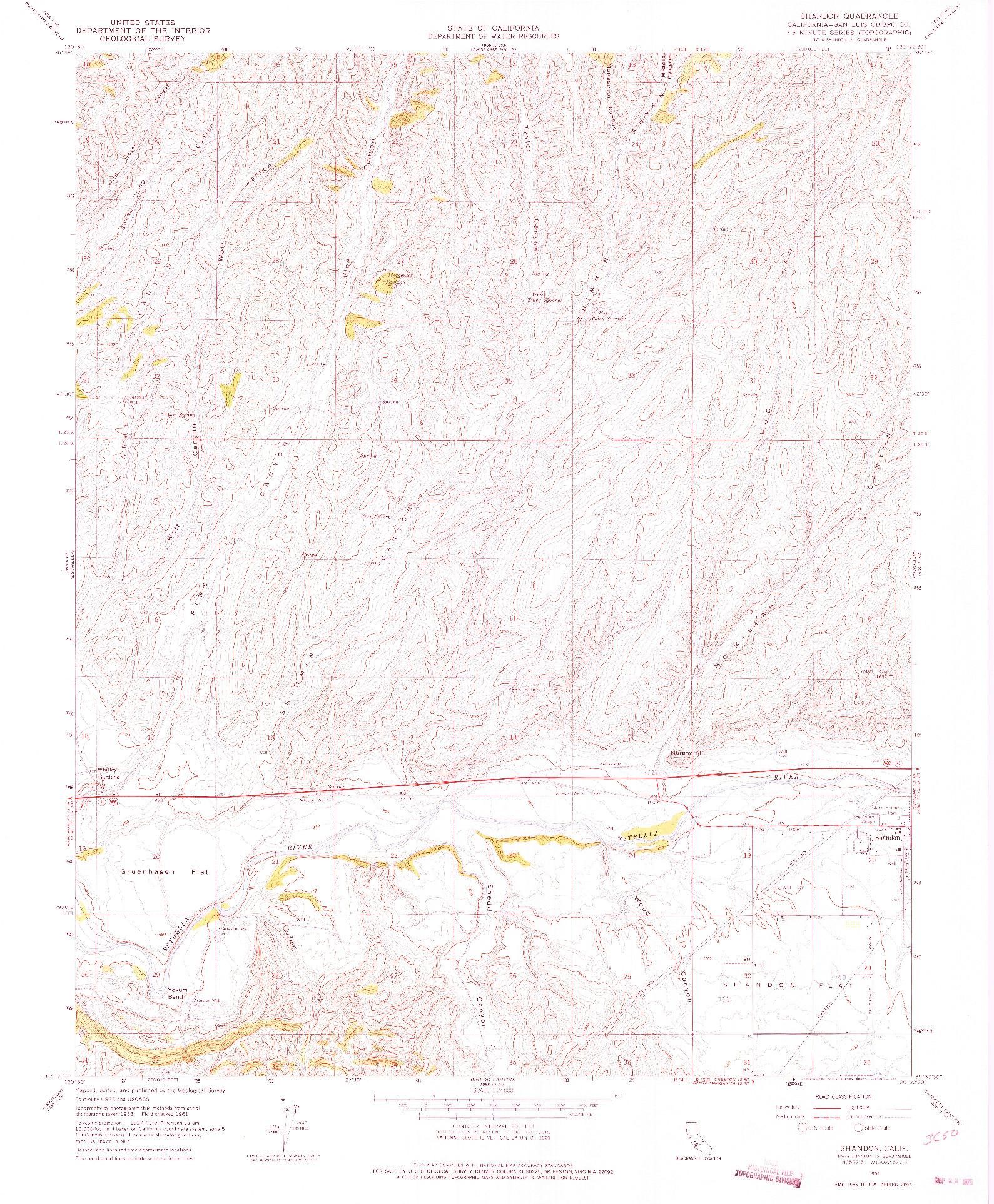 USGS 1:24000-SCALE QUADRANGLE FOR SHANDON, CA 1961