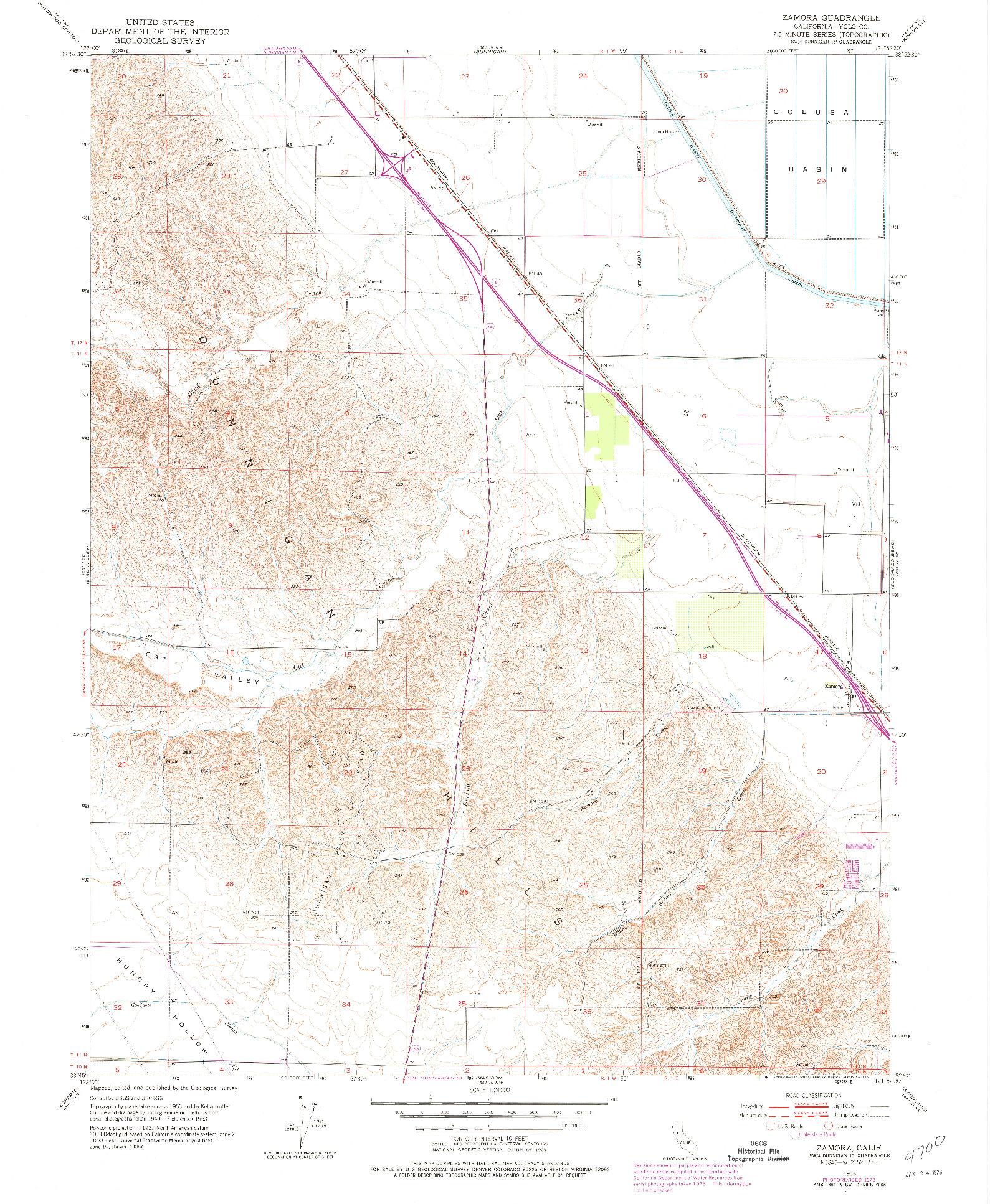 USGS 1:24000-SCALE QUADRANGLE FOR ZAMORA, CA 1953