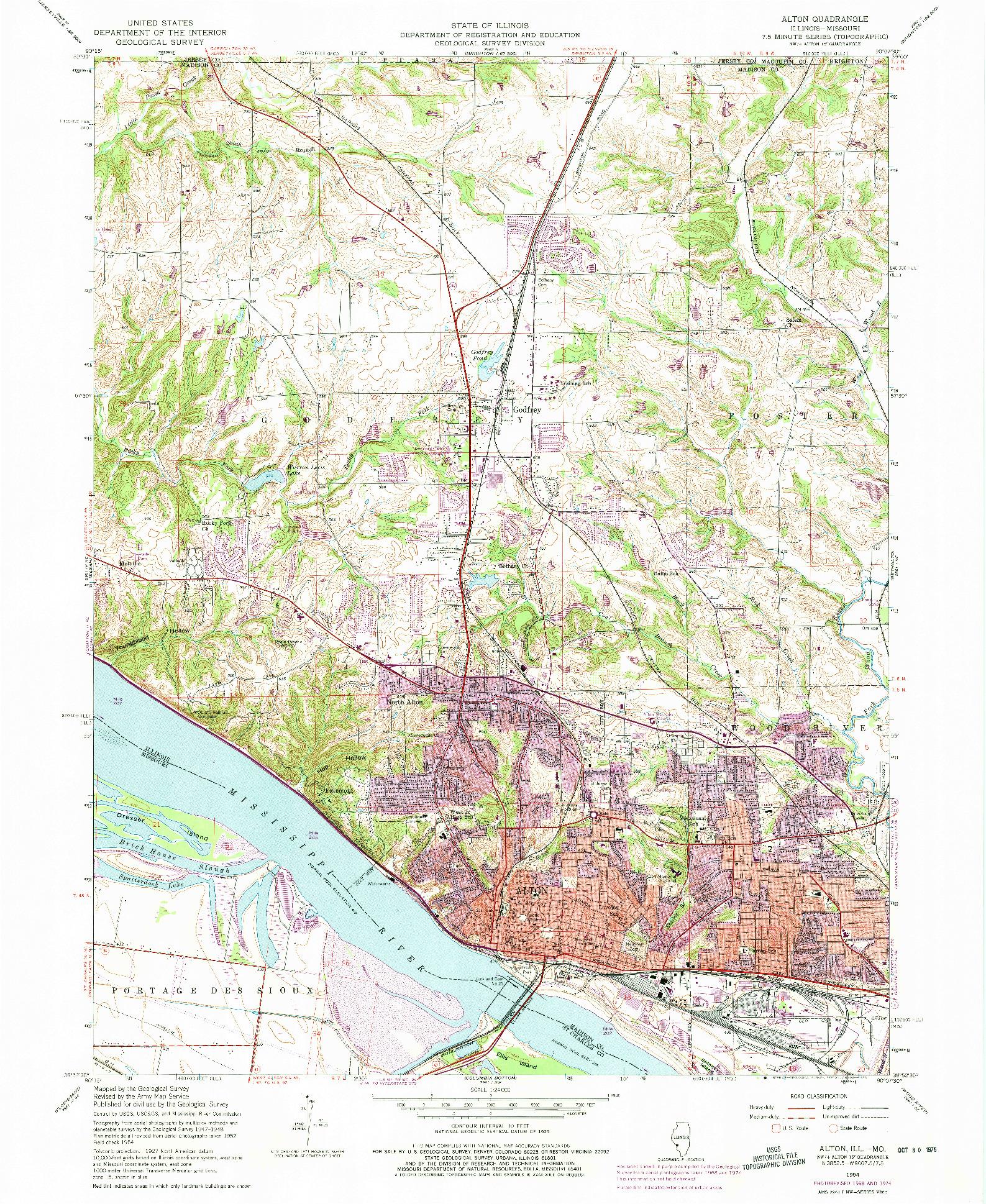USGS 1:24000-SCALE QUADRANGLE FOR ALTON, IL 1954