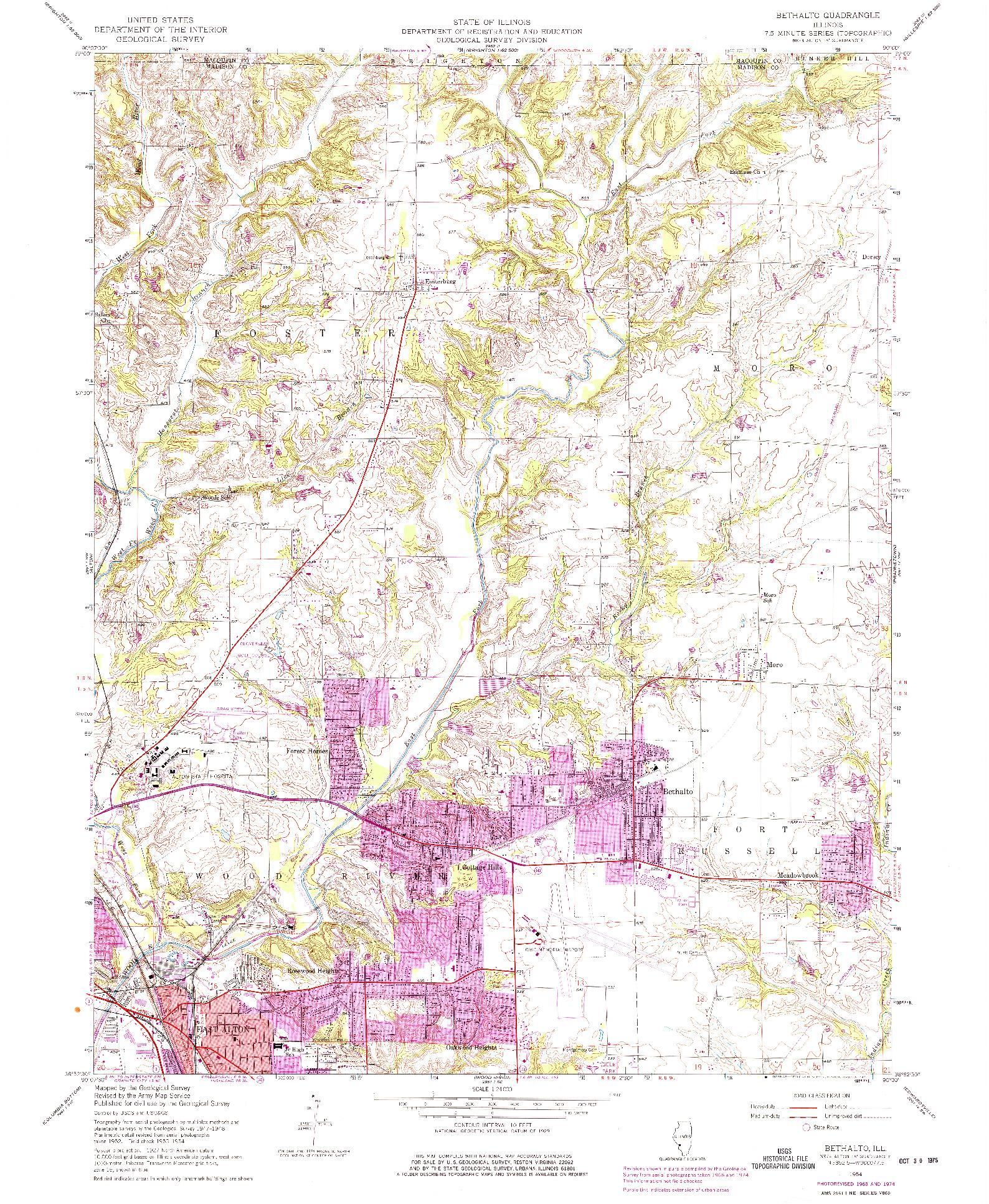 USGS 1:24000-SCALE QUADRANGLE FOR BETHALTO, IL 1954
