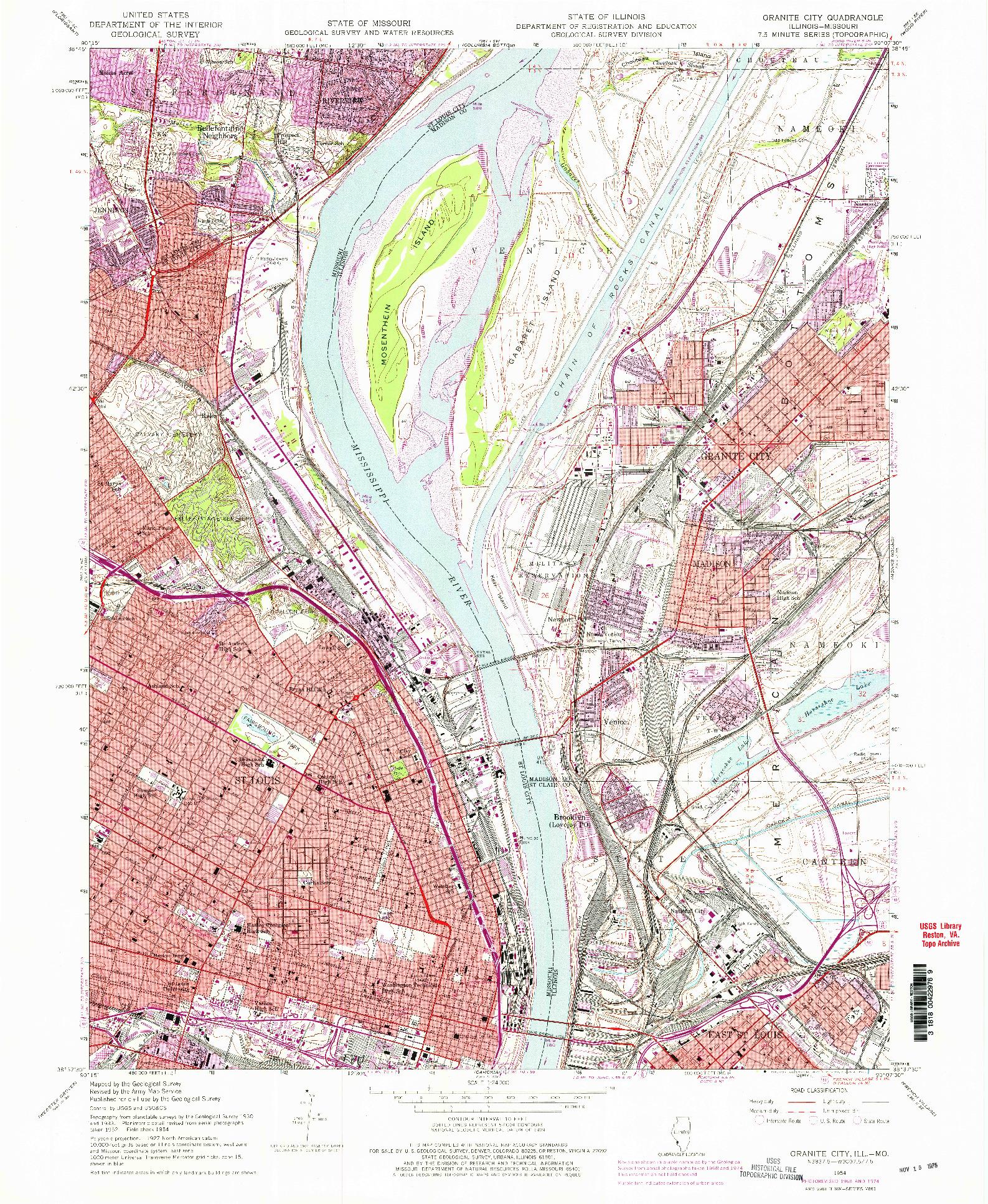 USGS 1:24000-SCALE QUADRANGLE FOR GRANITE CITY, IL 1954