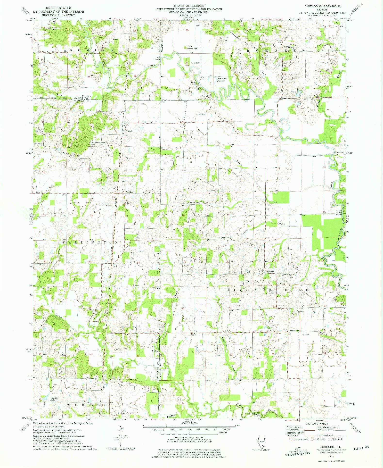 USGS 1:24000-SCALE QUADRANGLE FOR SHIELDS, IL 1973