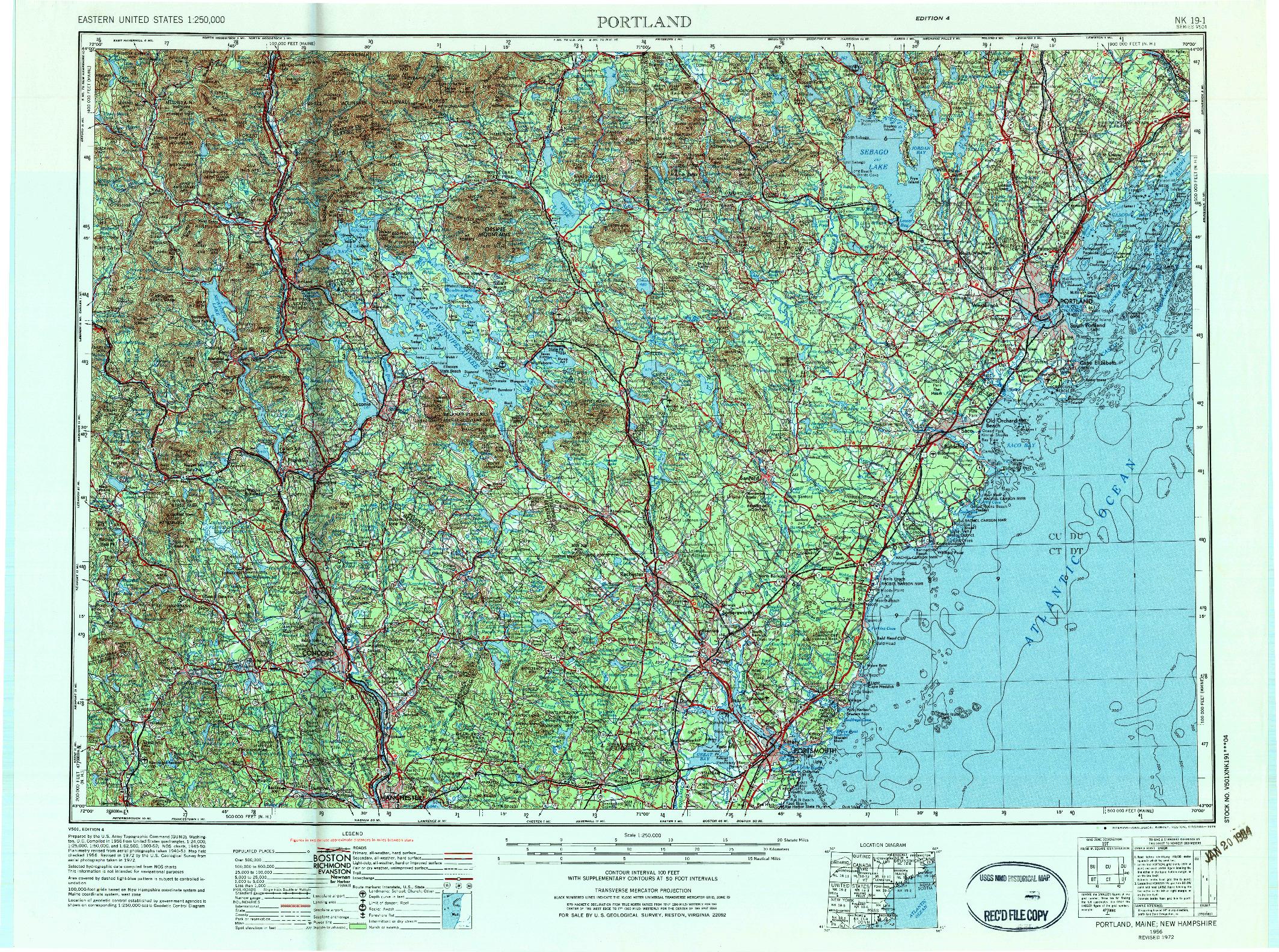 USGS 1:250000-SCALE QUADRANGLE FOR PORTLAND, ME 1956