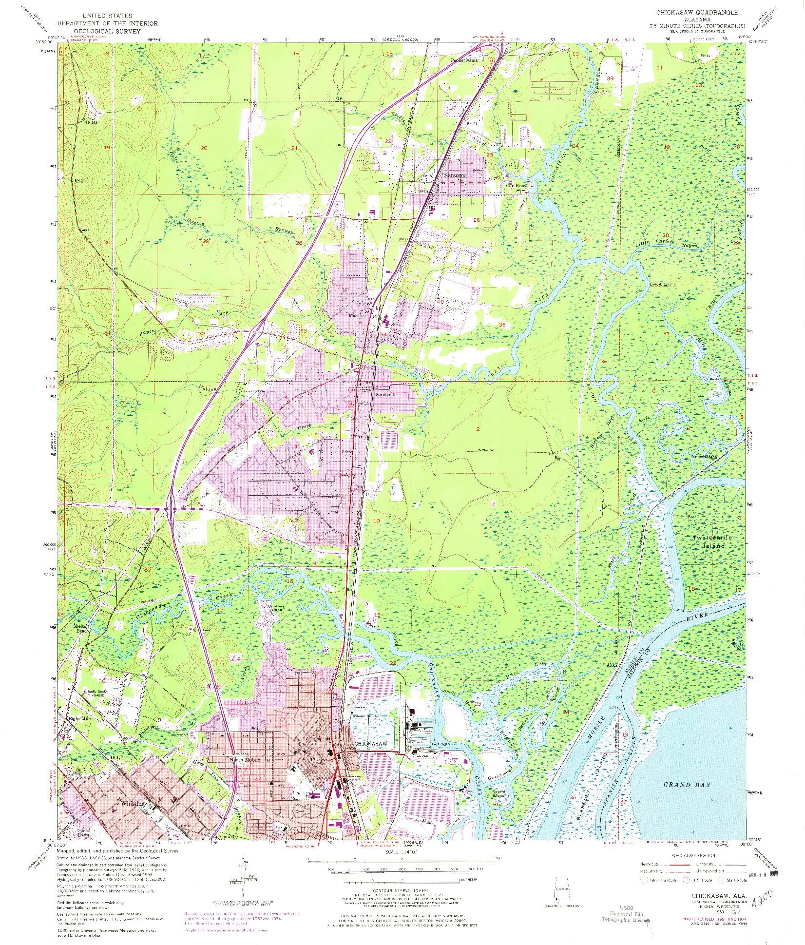 USGS 1:24000-SCALE QUADRANGLE FOR CHICKASAW, AL 1953