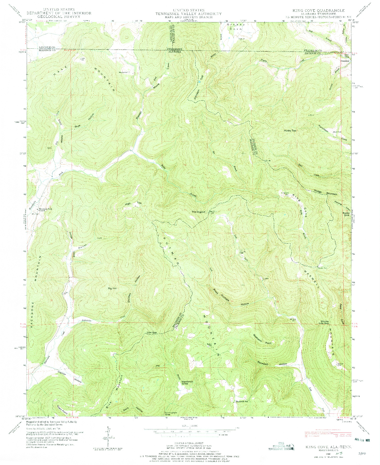USGS 1:24000-SCALE QUADRANGLE FOR KING COVE, AL 1948