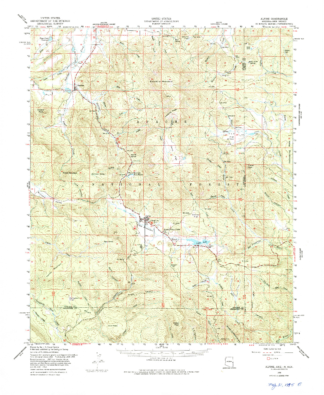USGS 1:62500-SCALE QUADRANGLE FOR ALPINE, AZ 1958