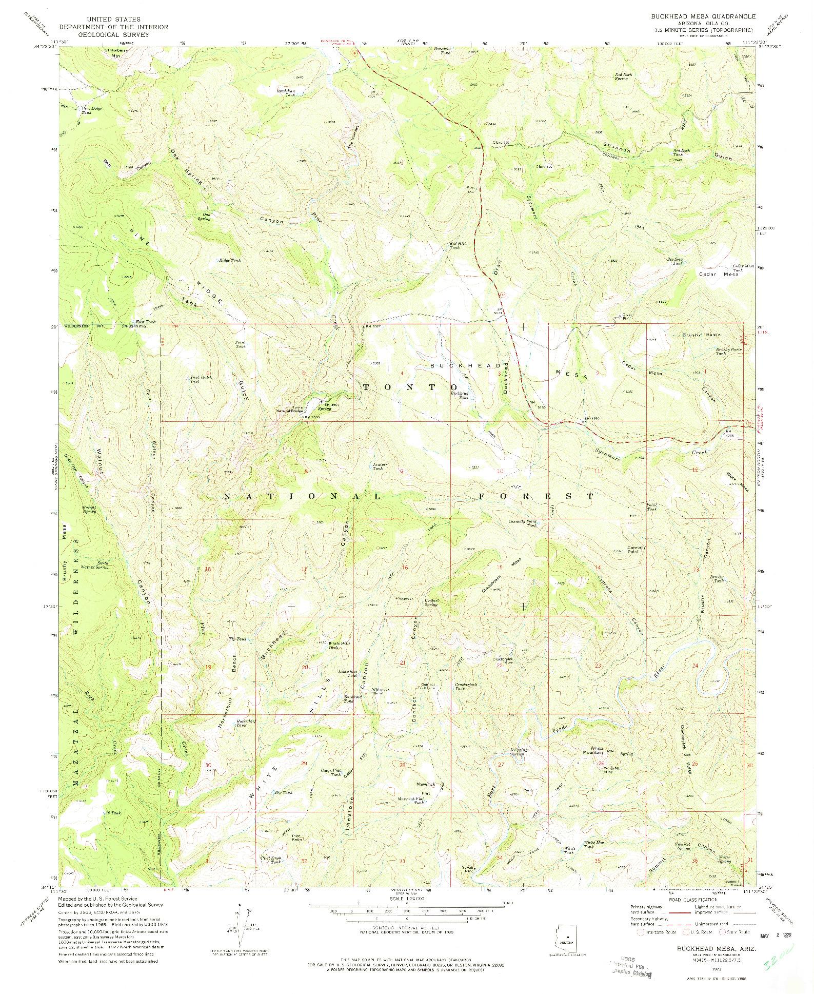 USGS 1:24000-SCALE QUADRANGLE FOR BUCKHEAD MESA, AZ 1973