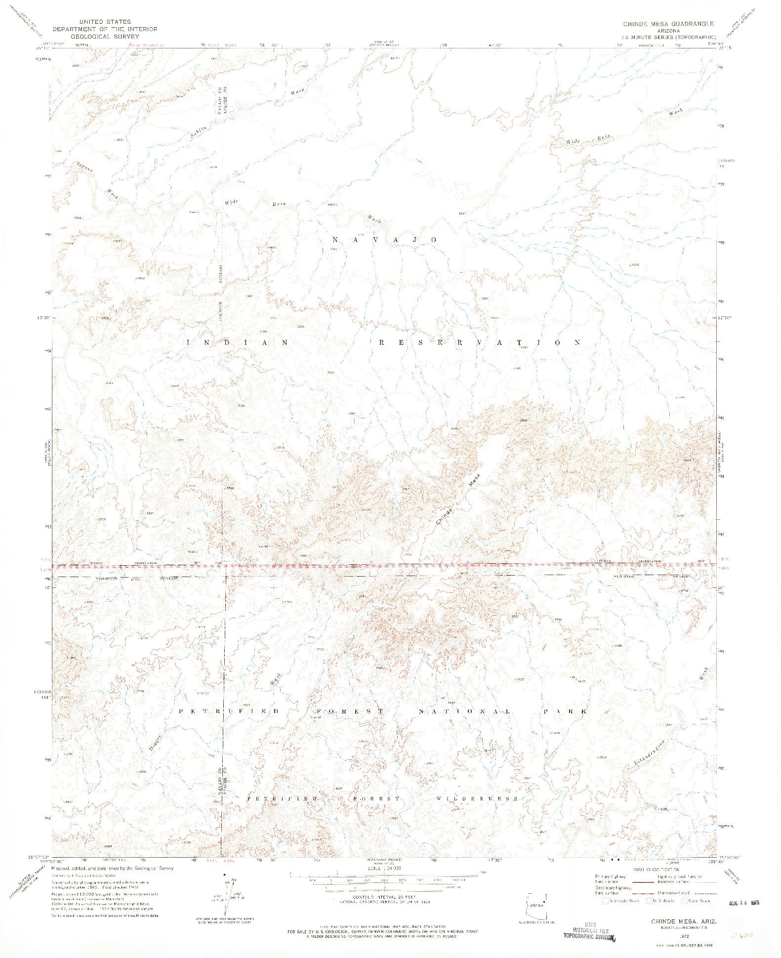 USGS 1:24000-SCALE QUADRANGLE FOR CHINDE MESA, AZ 1972
