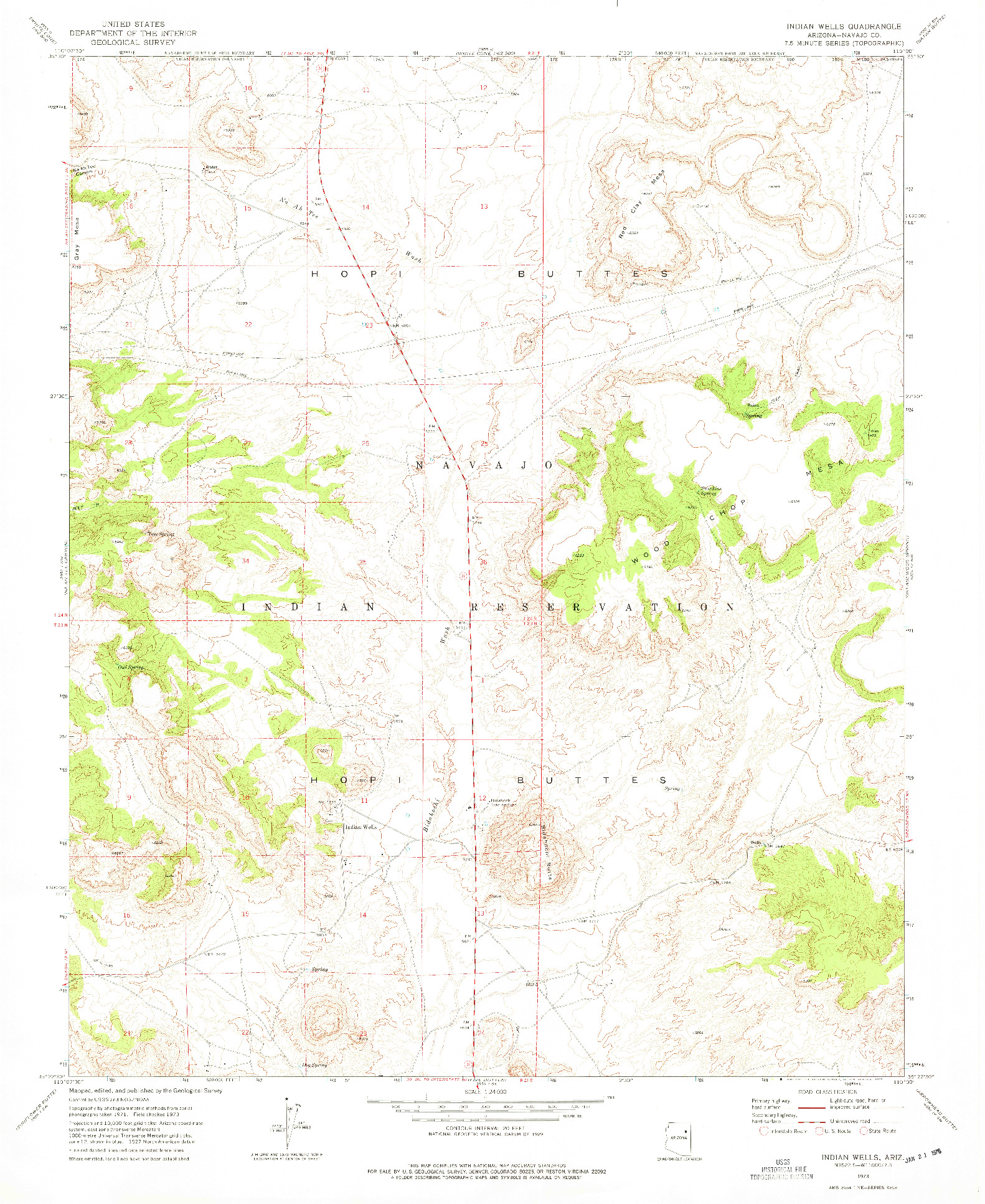 USGS 1:24000-SCALE QUADRANGLE FOR INDIAN WELLS, AZ 1973