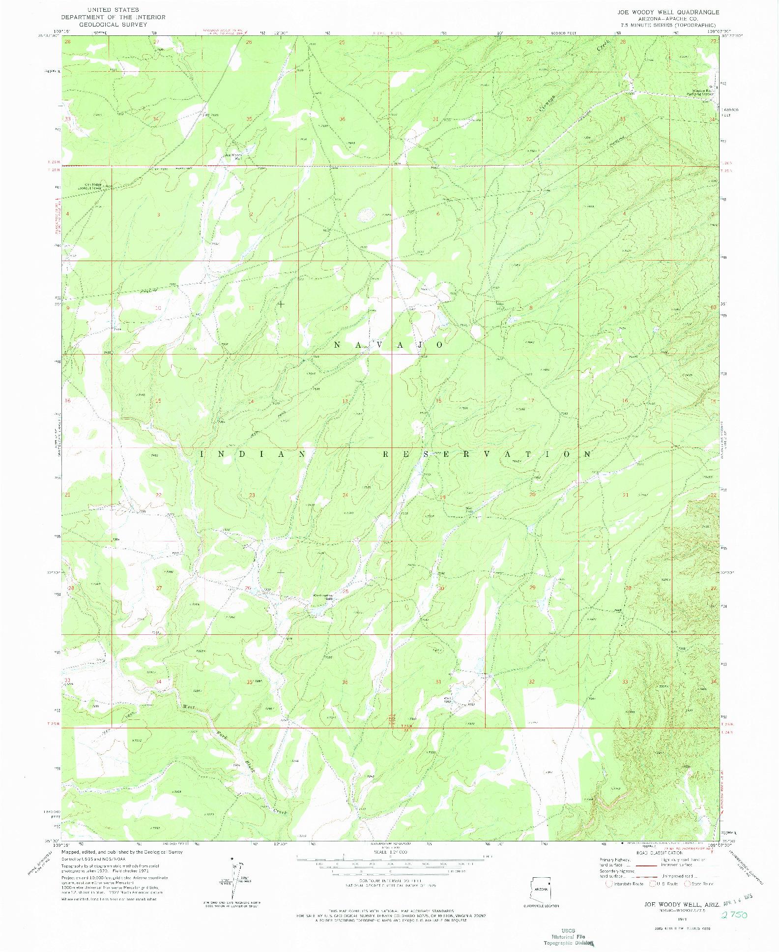 USGS 1:24000-SCALE QUADRANGLE FOR JOE WOODY WELL, AZ 1971