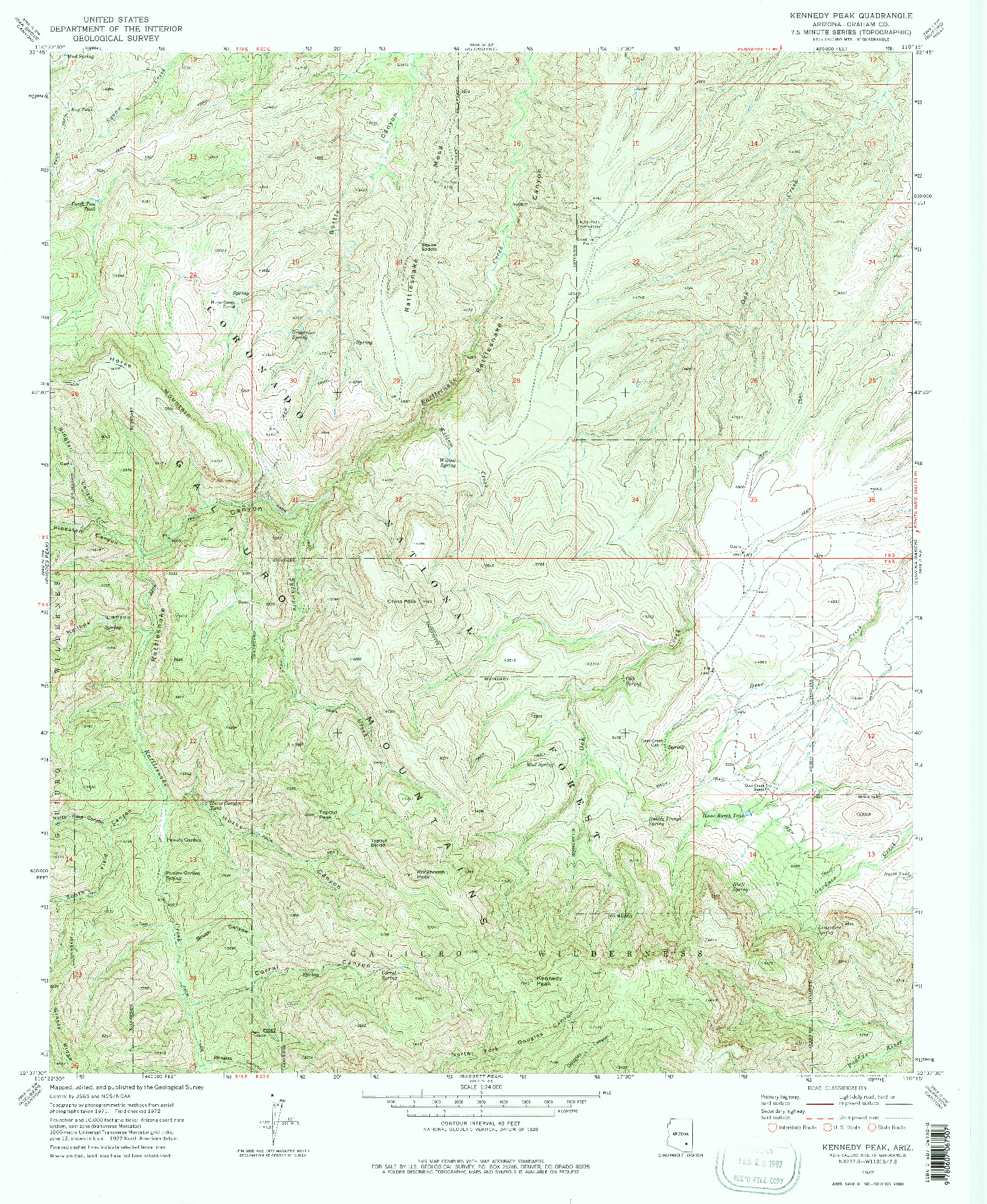 USGS 1:24000-SCALE QUADRANGLE FOR KENNEDY PEAK, AZ 1972