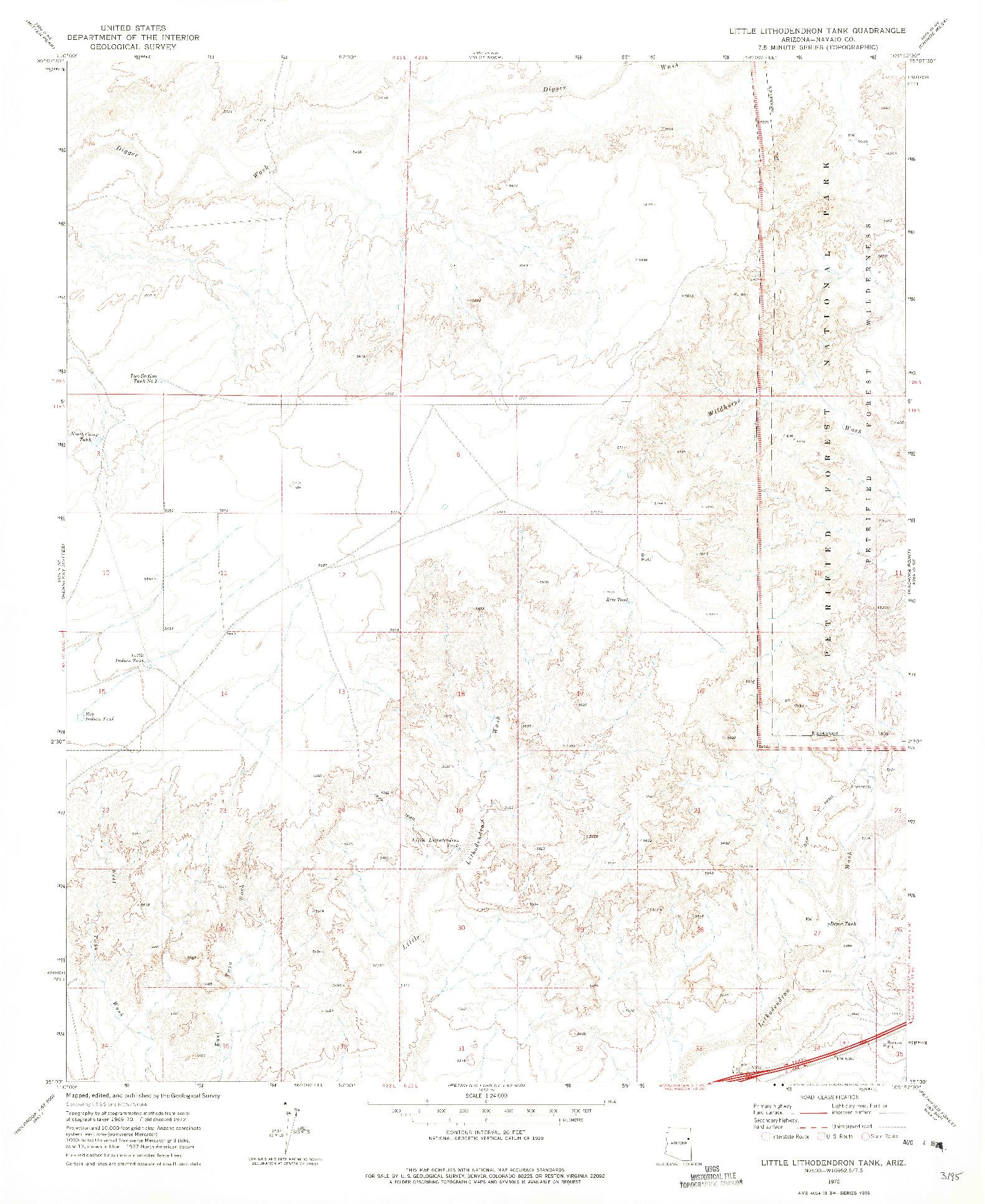 USGS 1:24000-SCALE QUADRANGLE FOR LITTLE LITHODENDRON TANK, AZ 1972