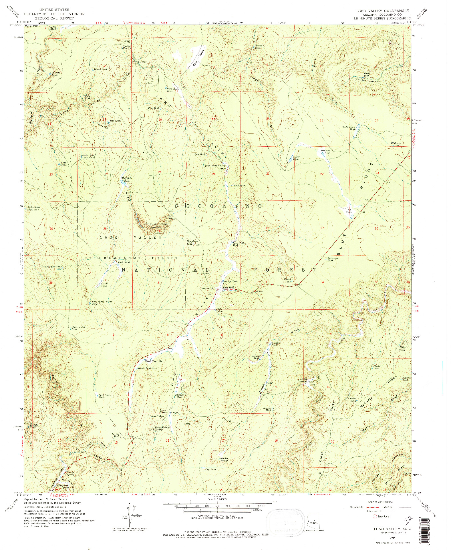 USGS 1:24000-SCALE QUADRANGLE FOR LONG VALLEY, AZ 1965