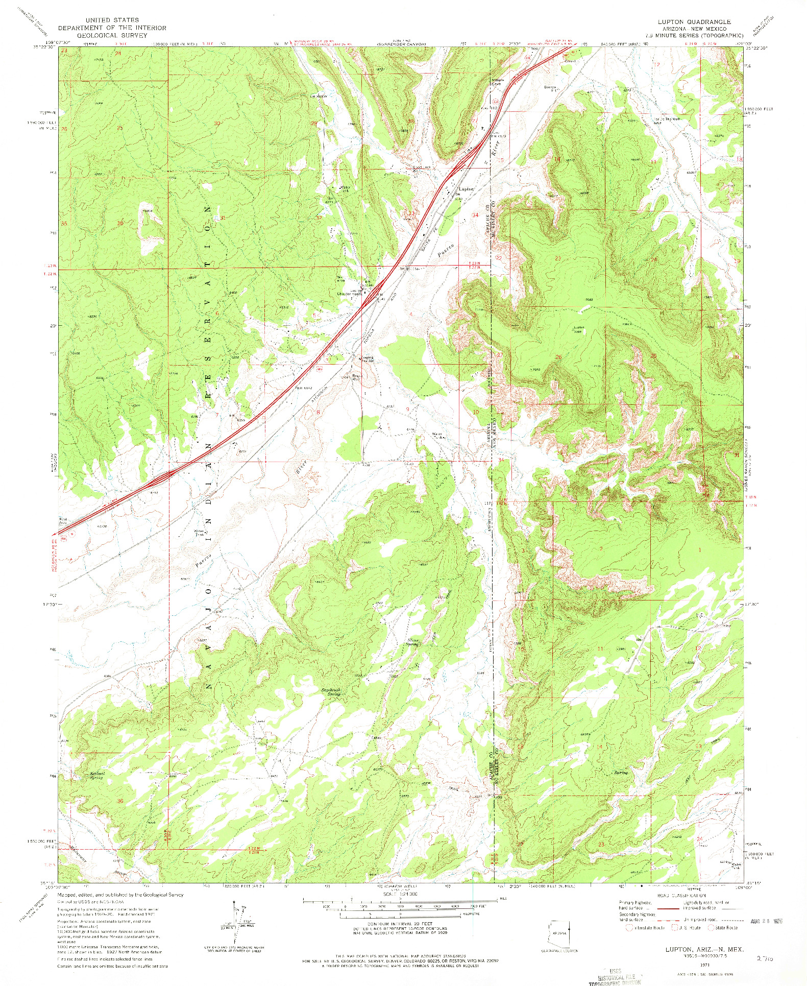 USGS 1:24000-SCALE QUADRANGLE FOR LUPTON, AZ 1971