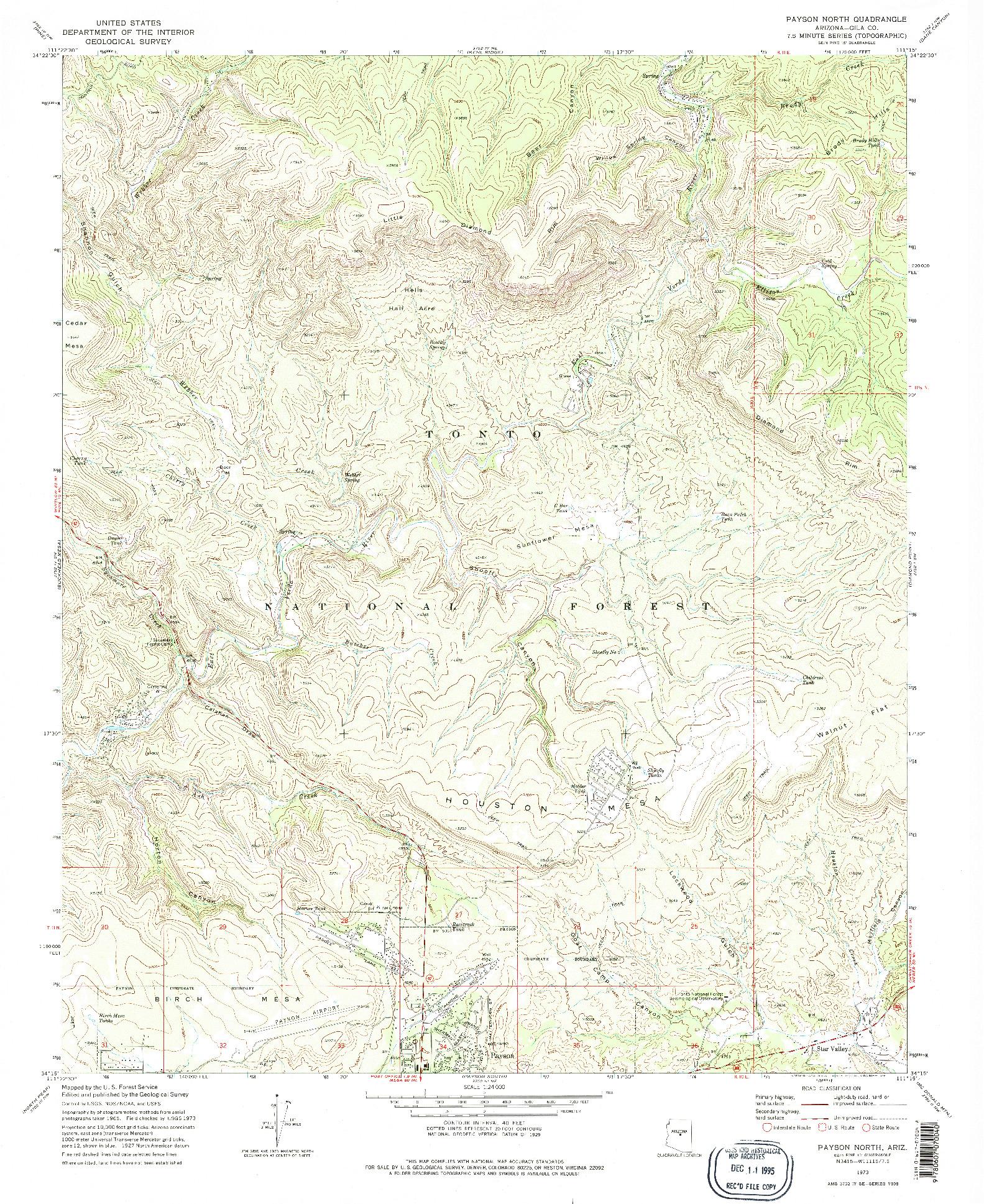 USGS 1:24000-SCALE QUADRANGLE FOR PAYSON NORTH, AZ 1973