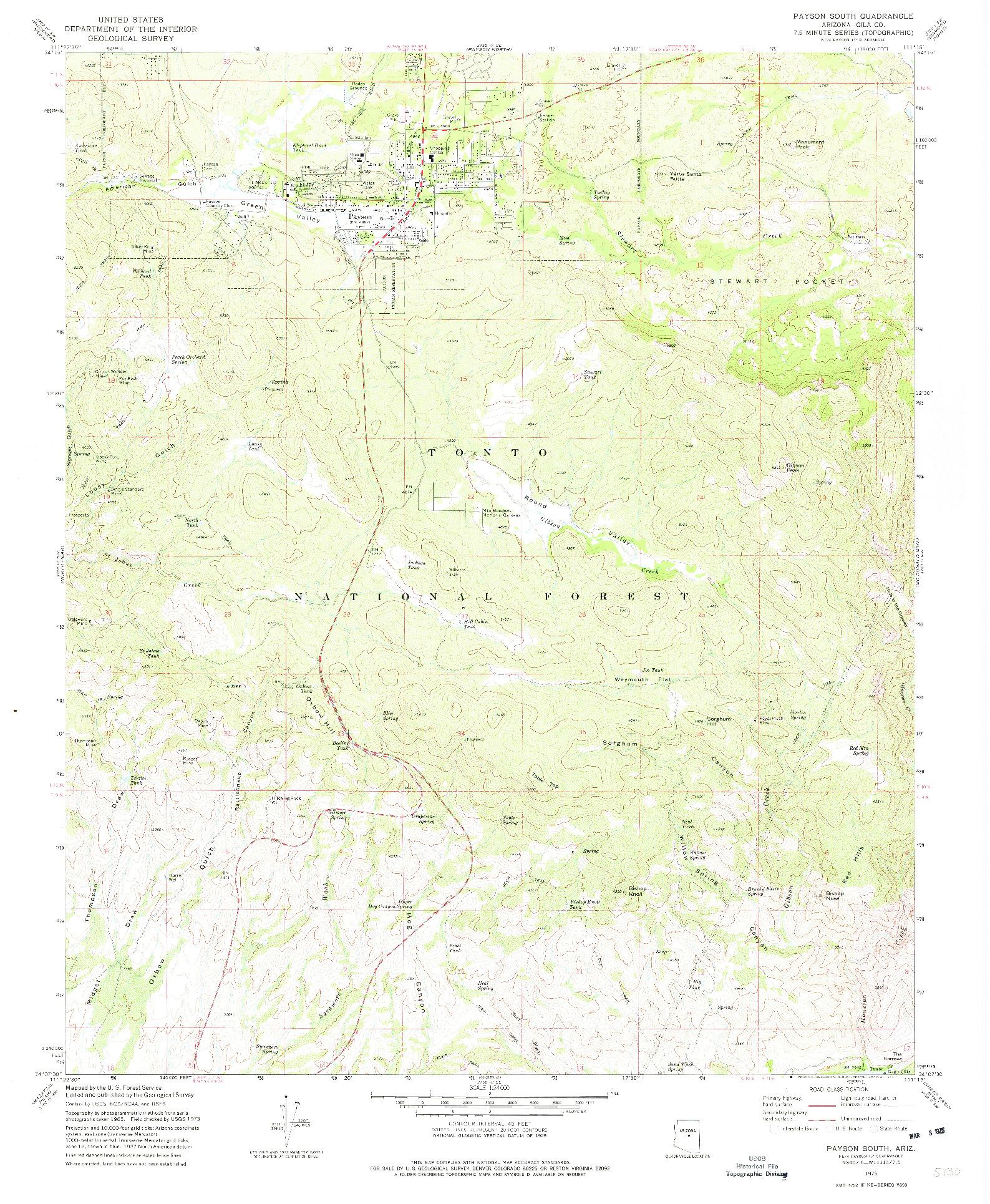 USGS 1:24000-SCALE QUADRANGLE FOR PAYSON SOUTH, AZ 1973