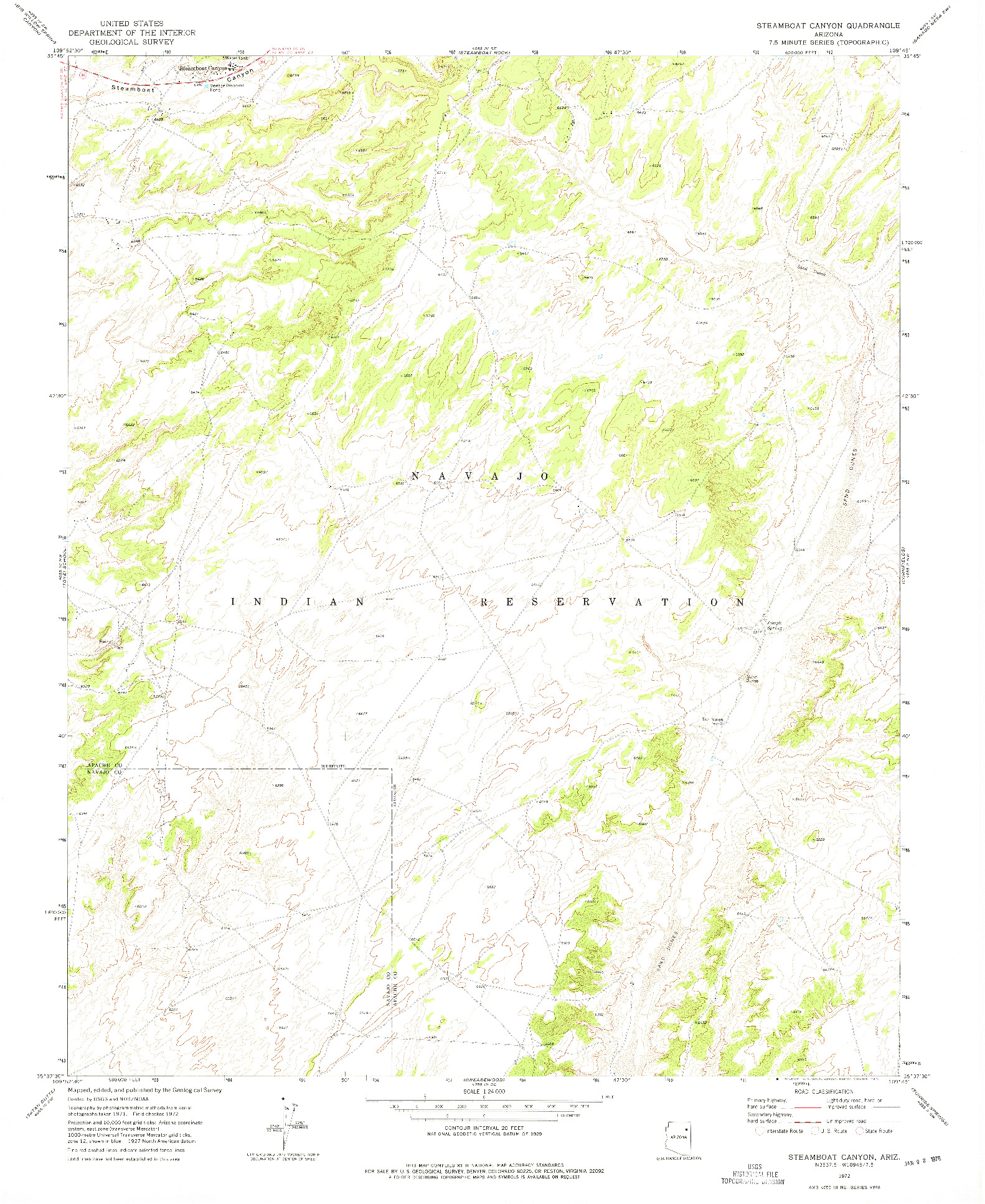 USGS 1:24000-SCALE QUADRANGLE FOR STEAMBOAT CANYON, AZ 1972
