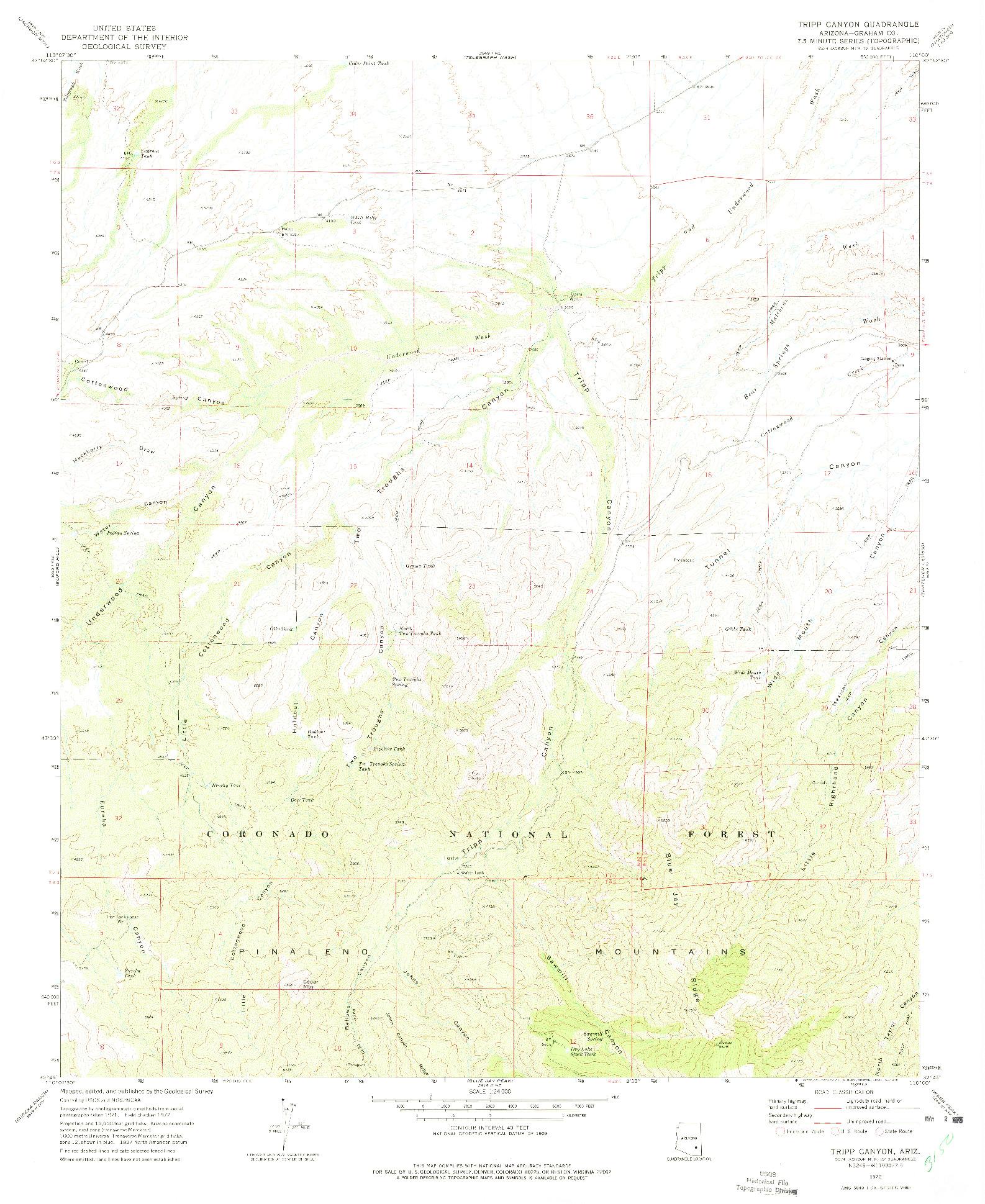 USGS 1:24000-SCALE QUADRANGLE FOR TRIPP CANYON, AZ 1972