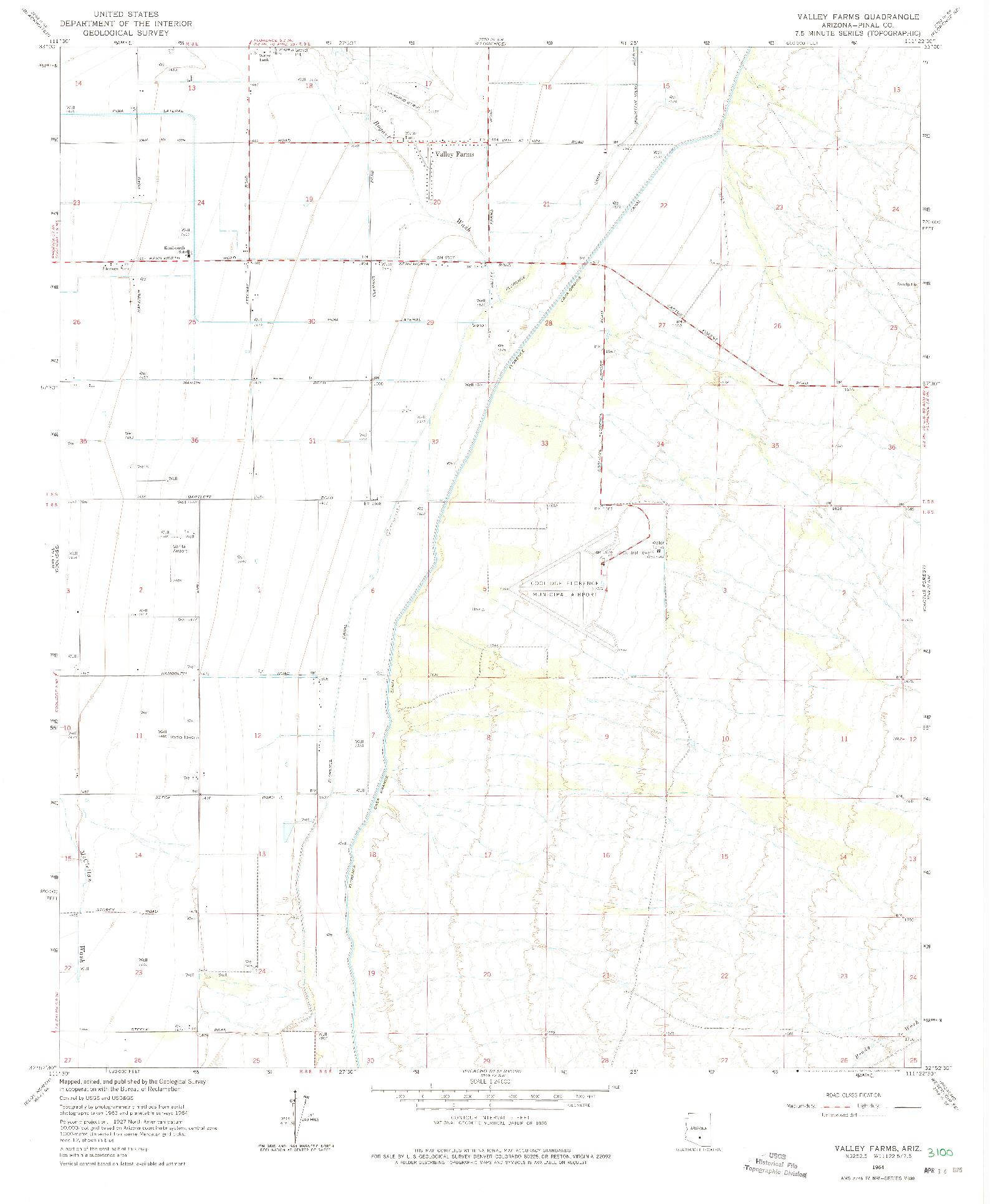 USGS 1:24000-SCALE QUADRANGLE FOR VALLEY FARMS, AZ 1964