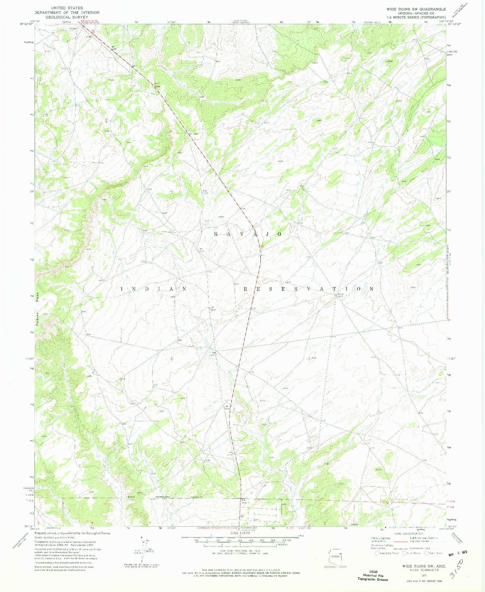 USGS 1:24000-SCALE QUADRANGLE FOR WIDE RUINS SW, AZ 1971