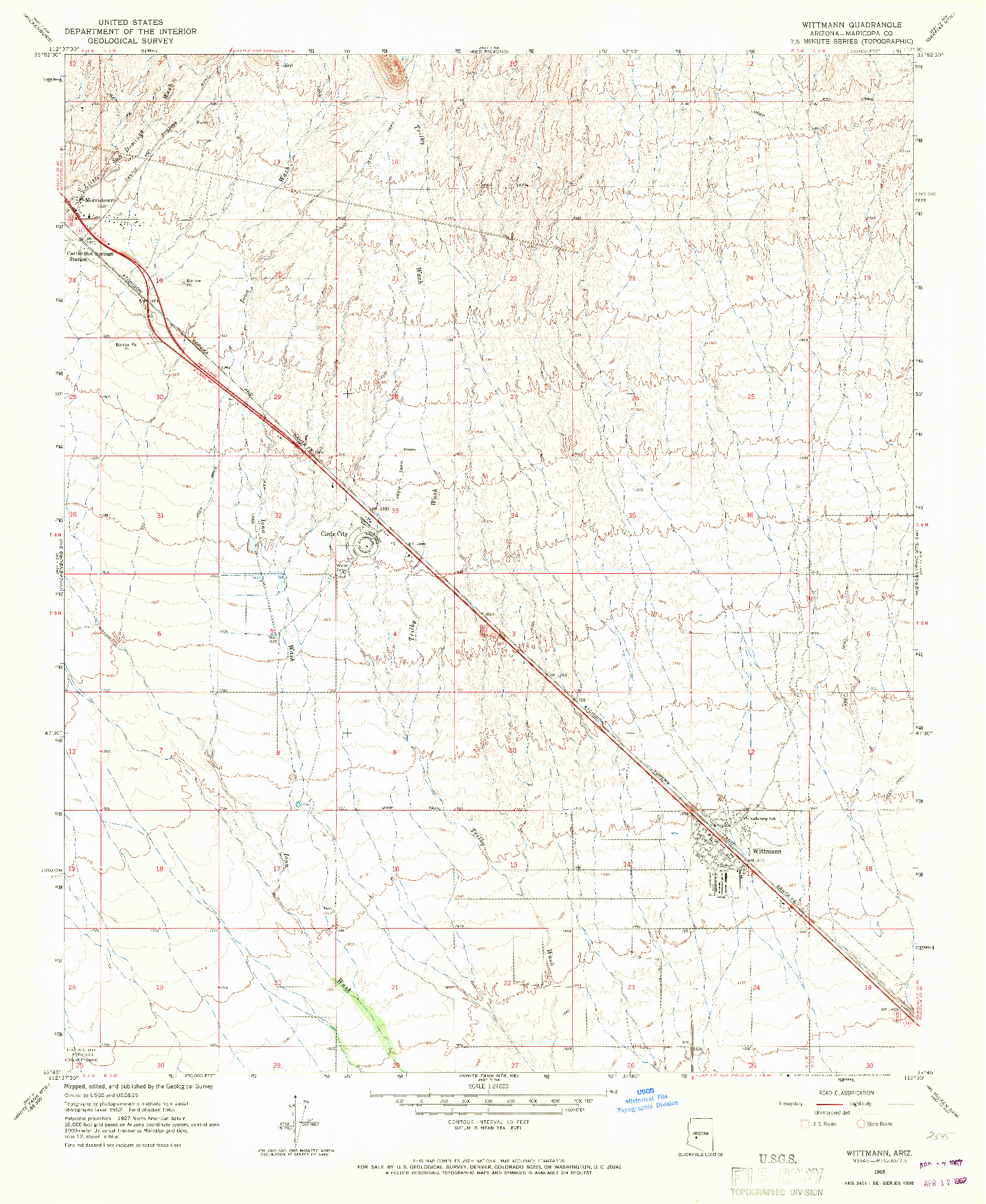 USGS 1:24000-SCALE QUADRANGLE FOR WITTMANN, AZ 1965