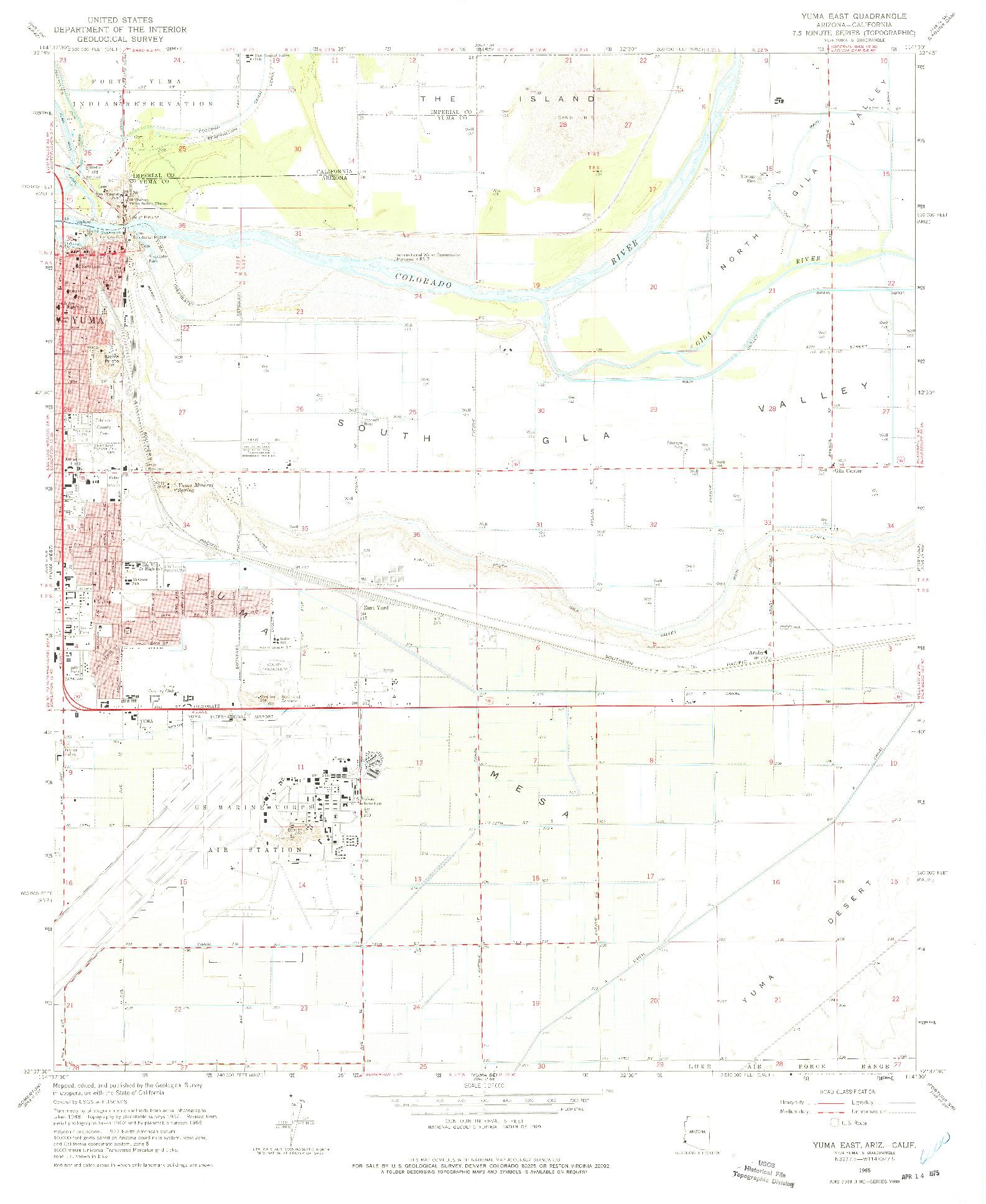 USGS 1:24000-SCALE QUADRANGLE FOR YUMA EAST, AZ 1965