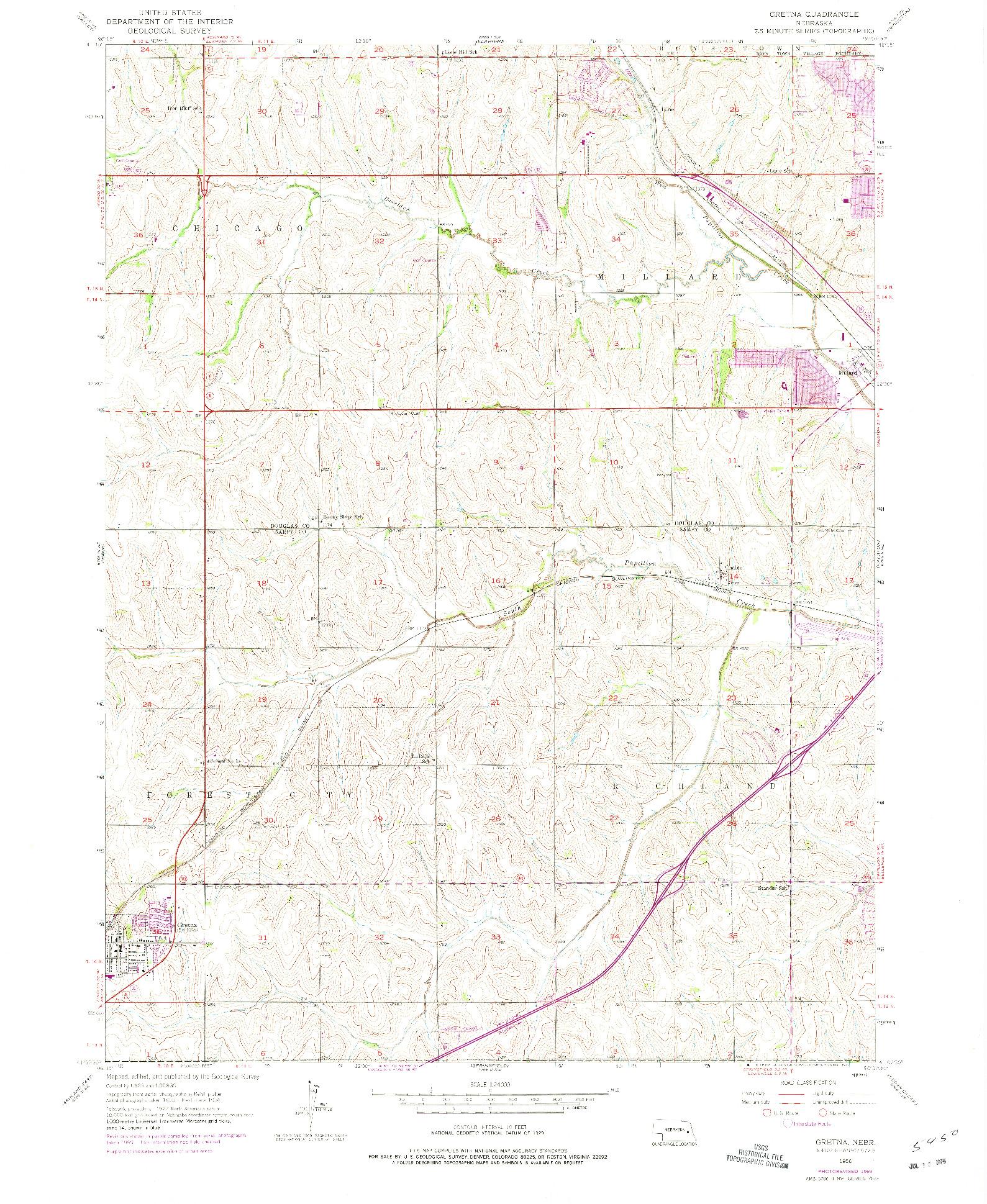 USGS 1:24000-SCALE QUADRANGLE FOR GRETNA, NE 1956